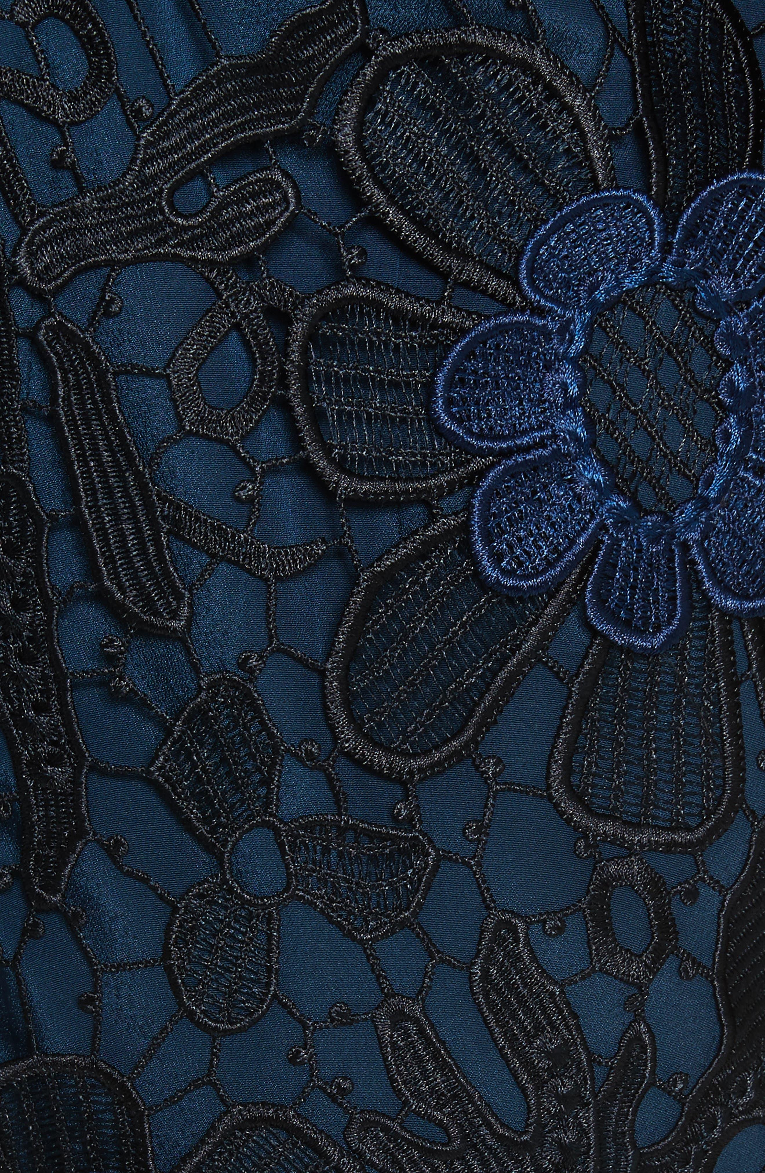 3D Floral Lace Minidress,                             Alternate thumbnail 5, color,                             400