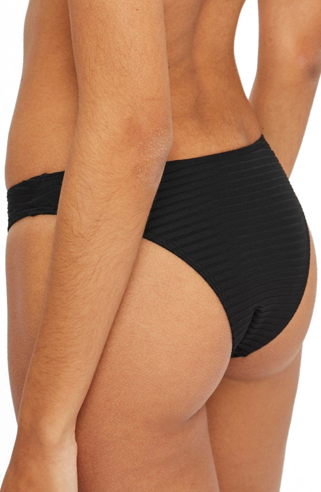 Wide Ribbed High Leg Bikini Bottoms,                             Alternate thumbnail 2, color,                             001