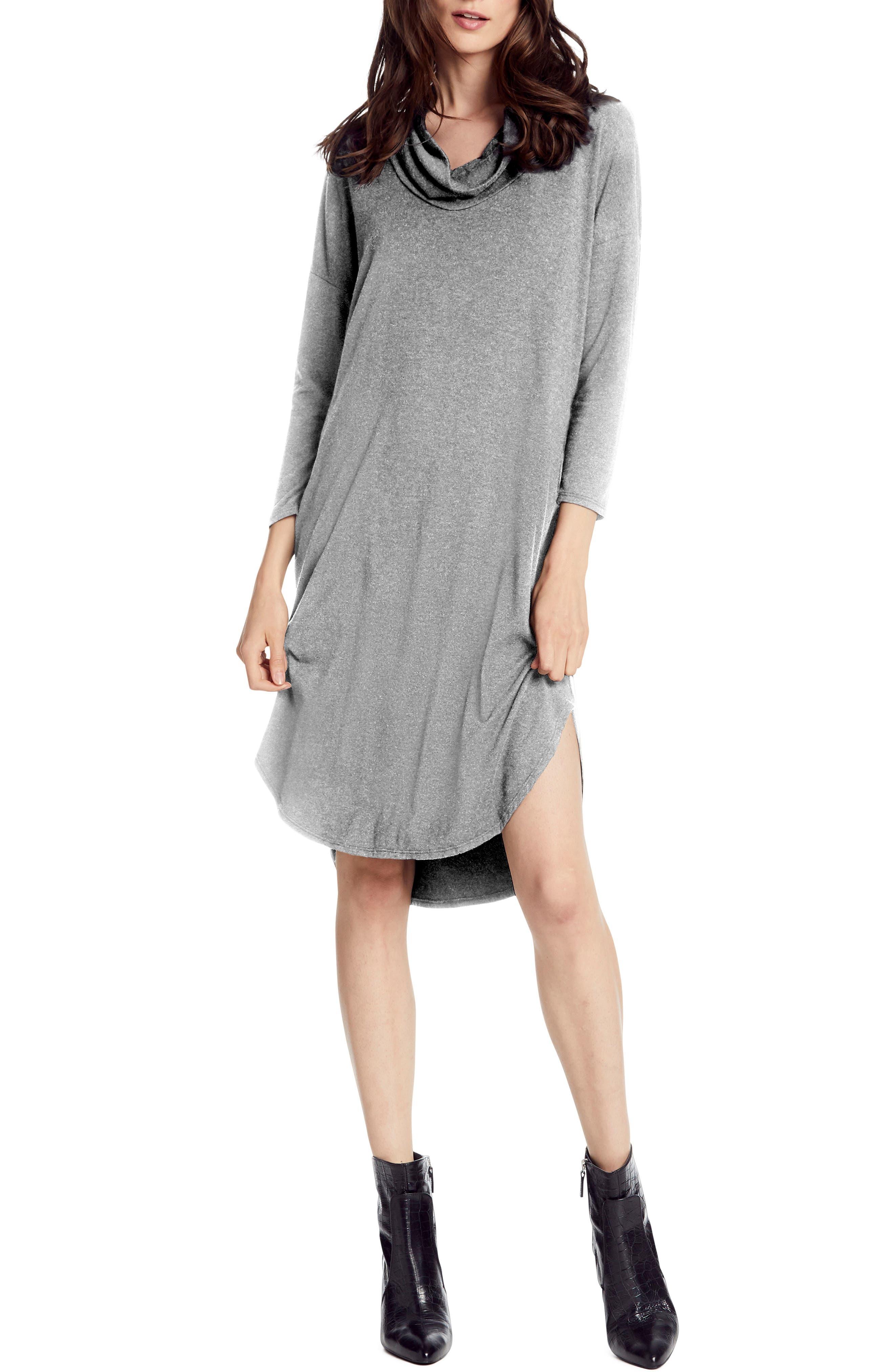 Michael Stars Jules Cowl Neck Jersey Dress, Grey