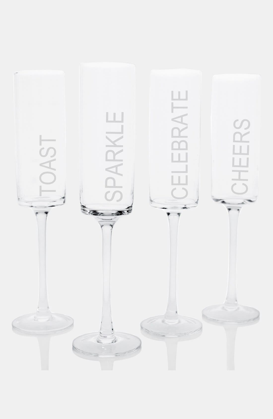 'Celebrate!' Contemporary Champagne Flutes,                             Alternate thumbnail 2, color,                             NO COLOR