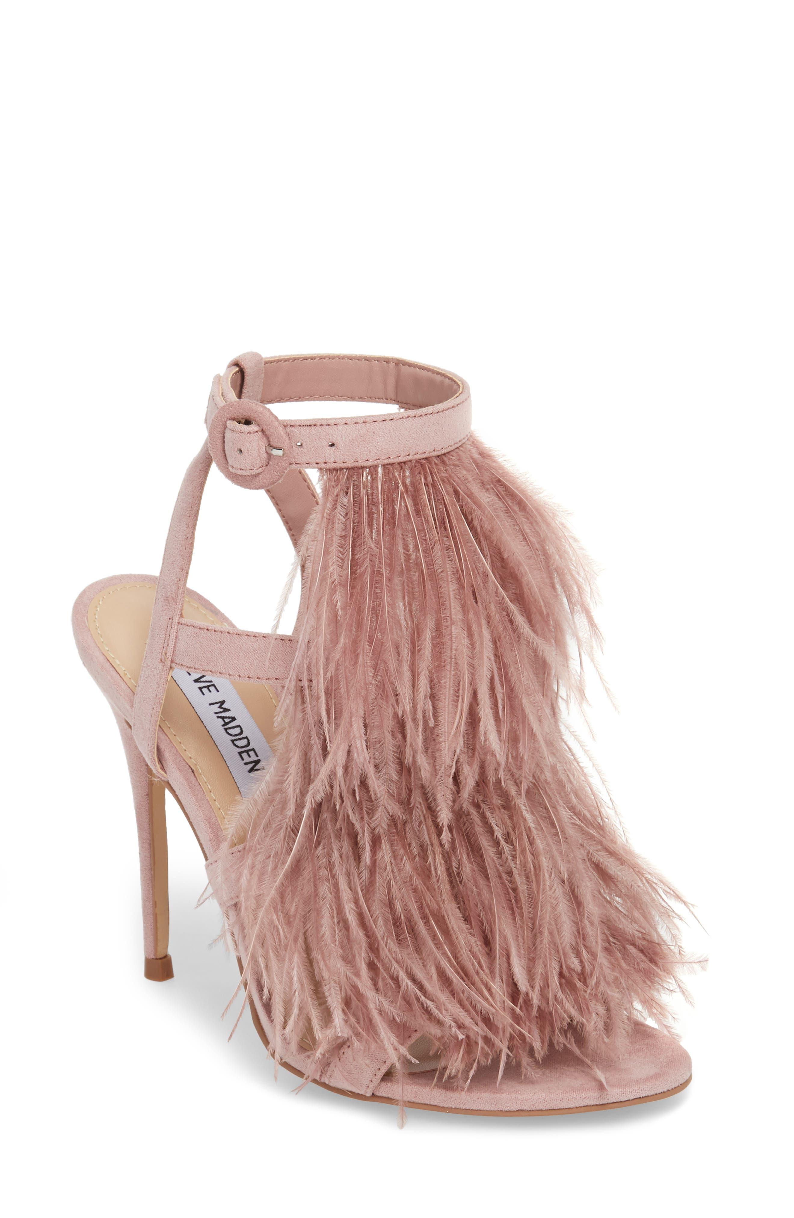 Steve Madden Fefe Feather Sandal, Pink