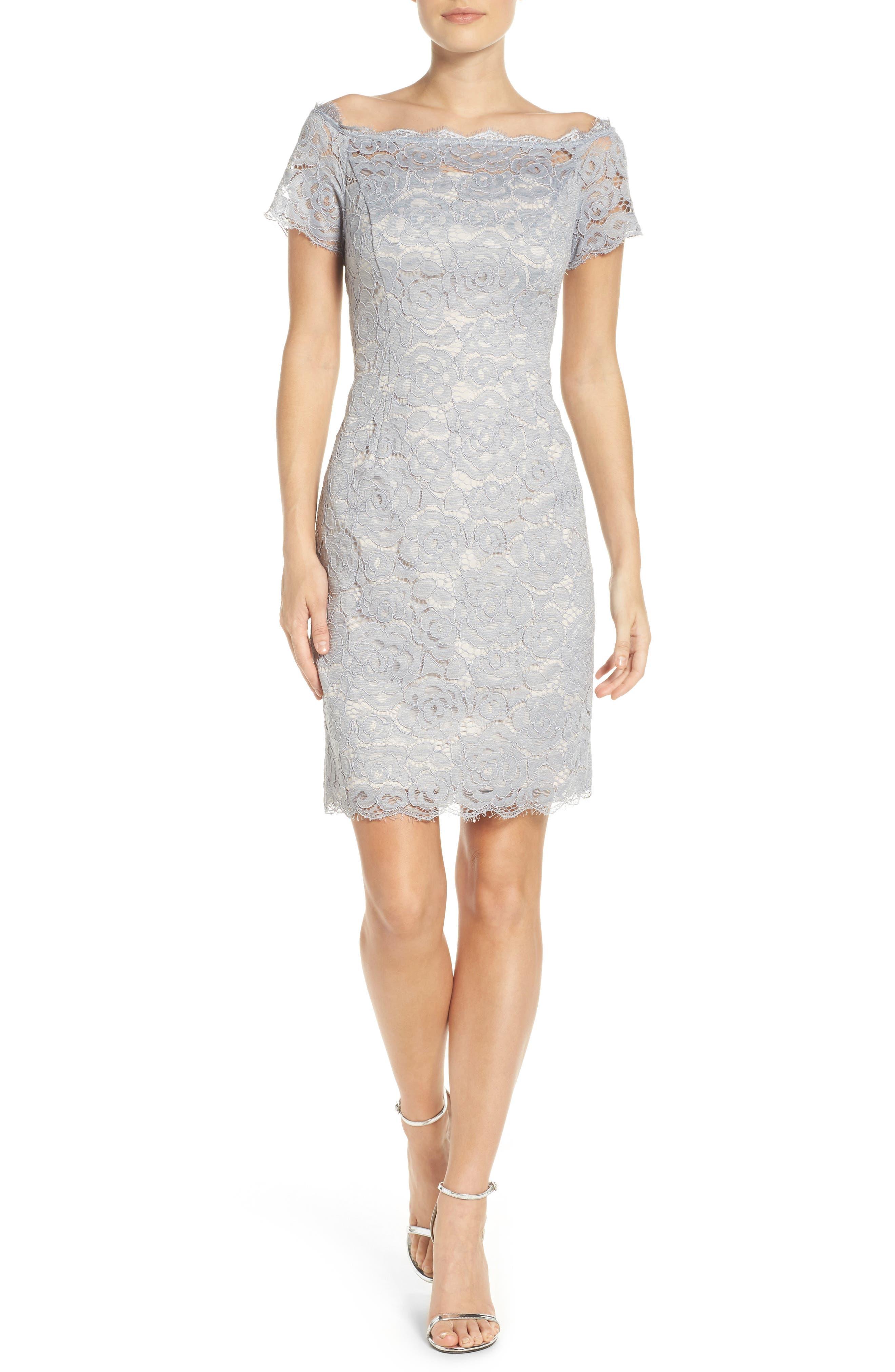 Off the Shoulder Lace Sheath Dress,                             Alternate thumbnail 33, color,
