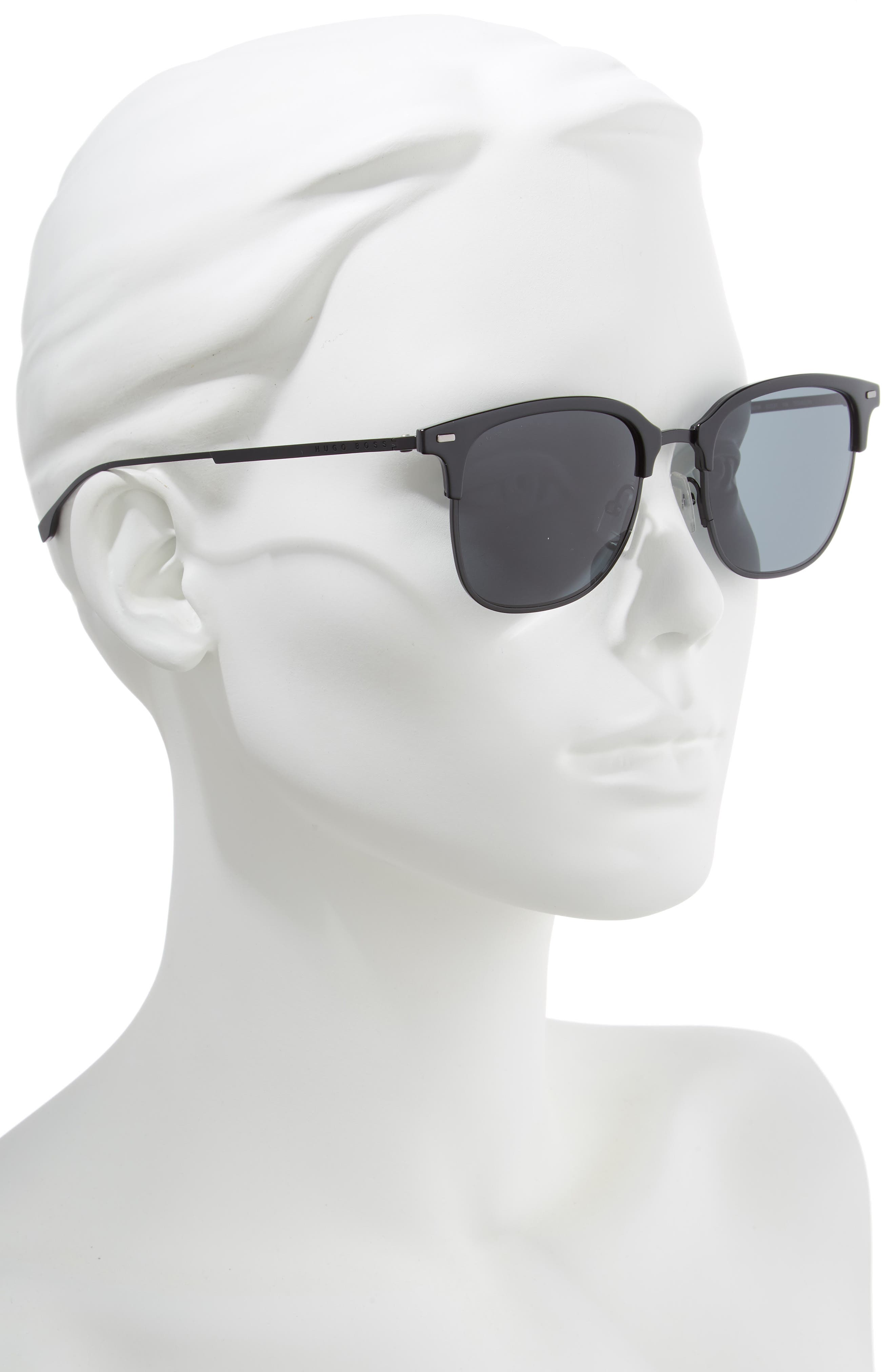 53mm Special Fit Semi Rimless Sunglasses,                             Alternate thumbnail 2, color,                             BLACK