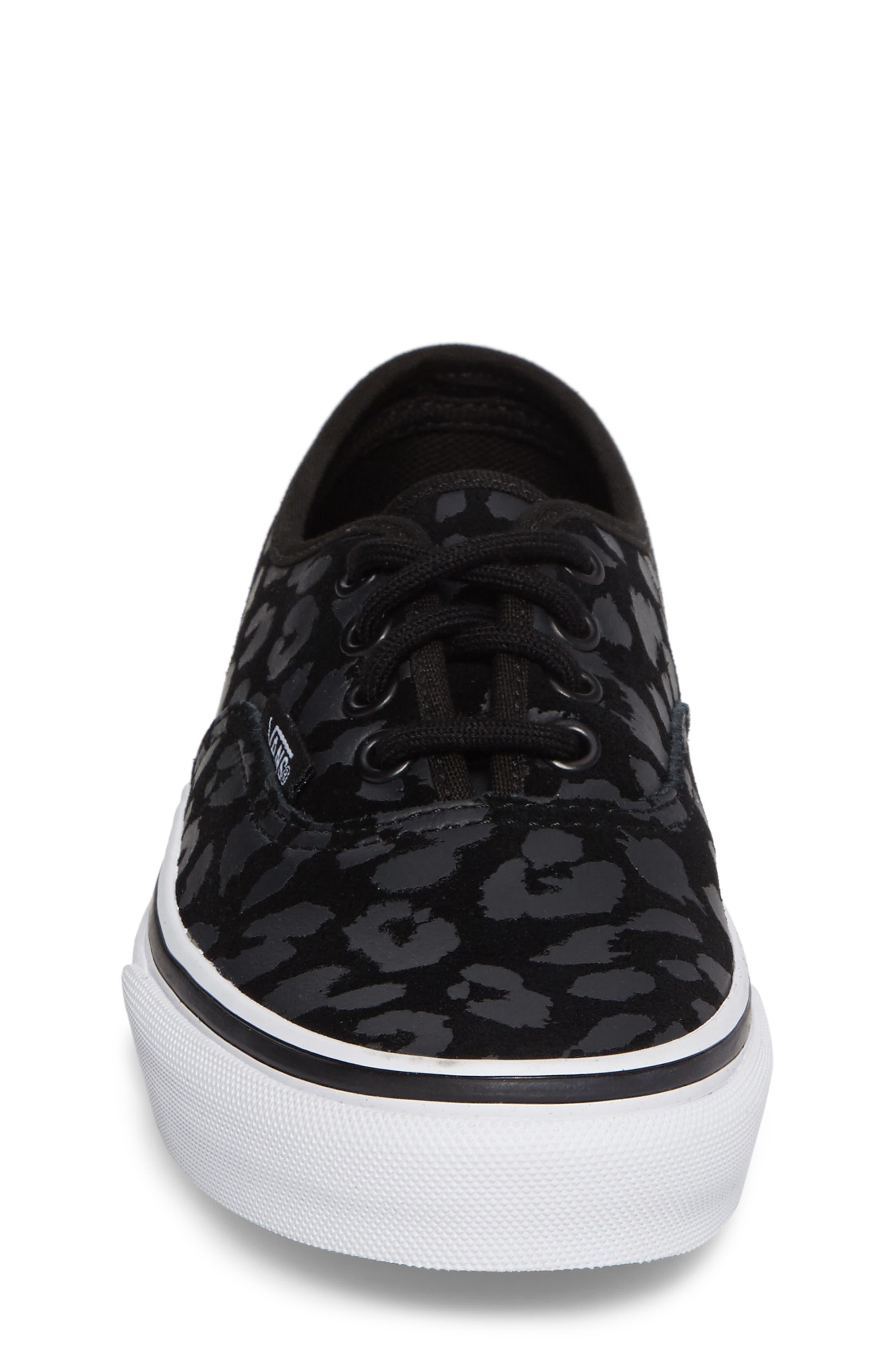 Authentic Leopard Print Sneaker,                             Alternate thumbnail 4, color,                             001