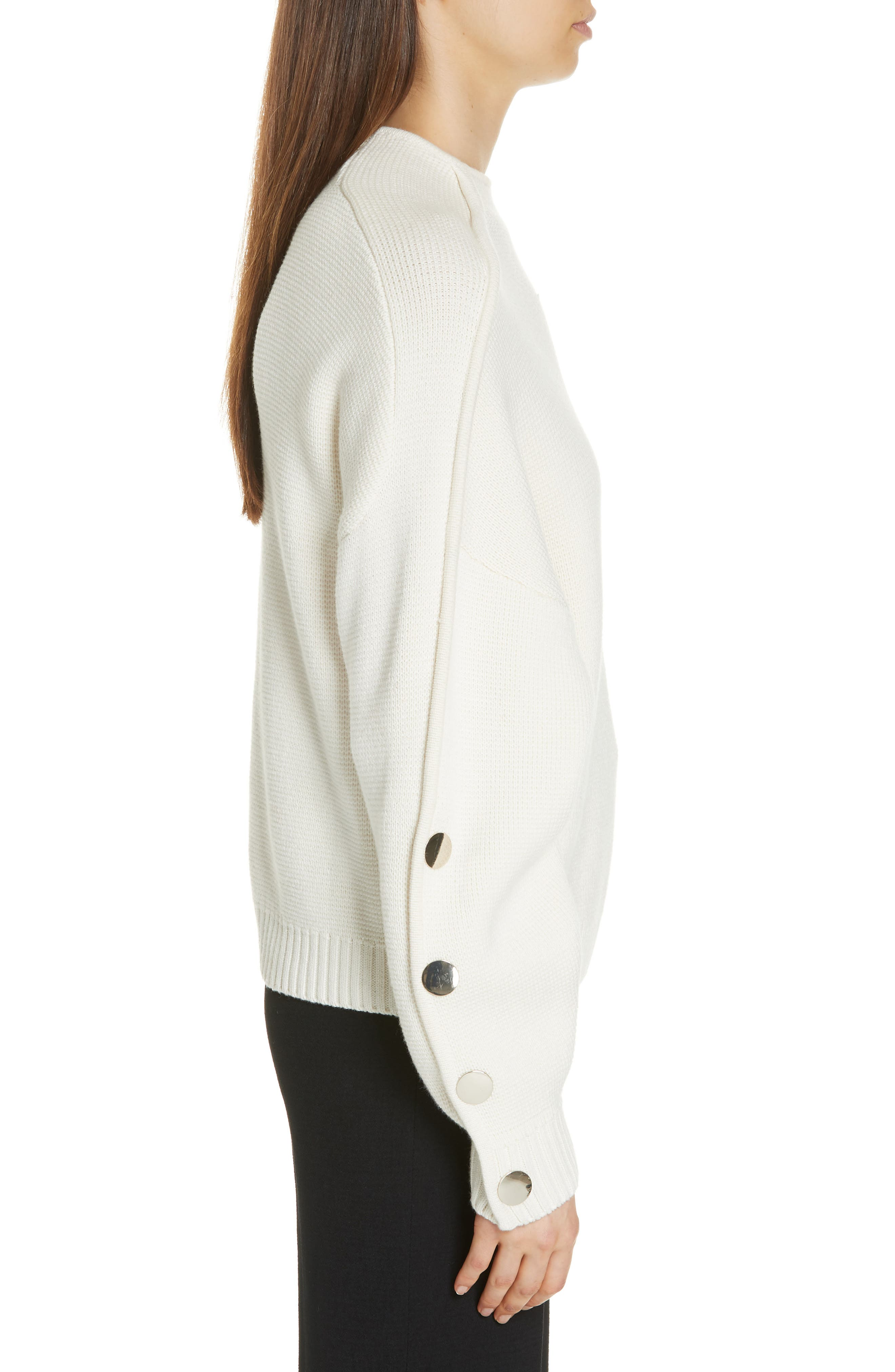 Astana Button Sleeve Waffle Weave Cotton Wool Sweater,                             Alternate thumbnail 3, color,                             900