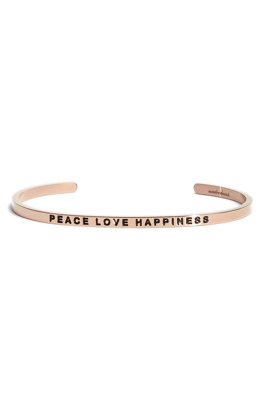 """""""Peace Love Happiness"""" Cuff,                             Main thumbnail 2, color,"""