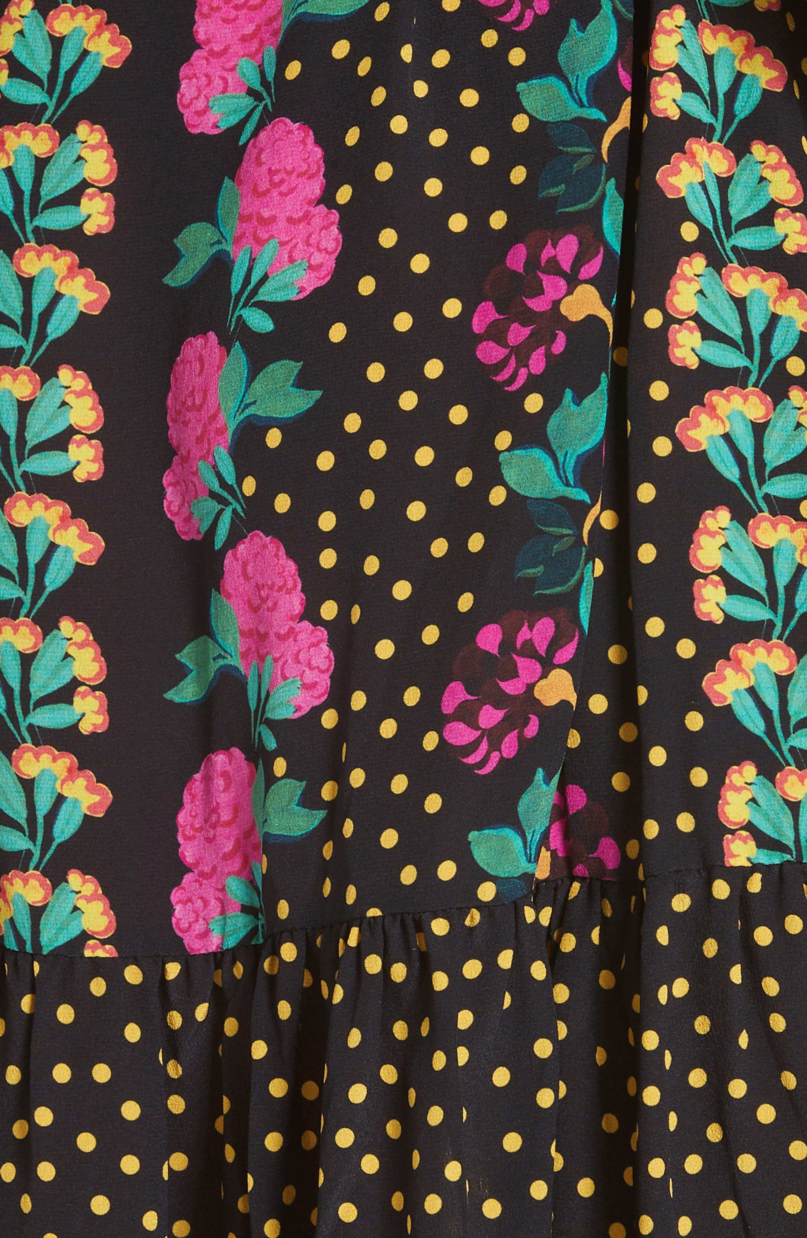 Tyra Print Silk Fit & Flare Dress,                             Alternate thumbnail 5, color,                             001