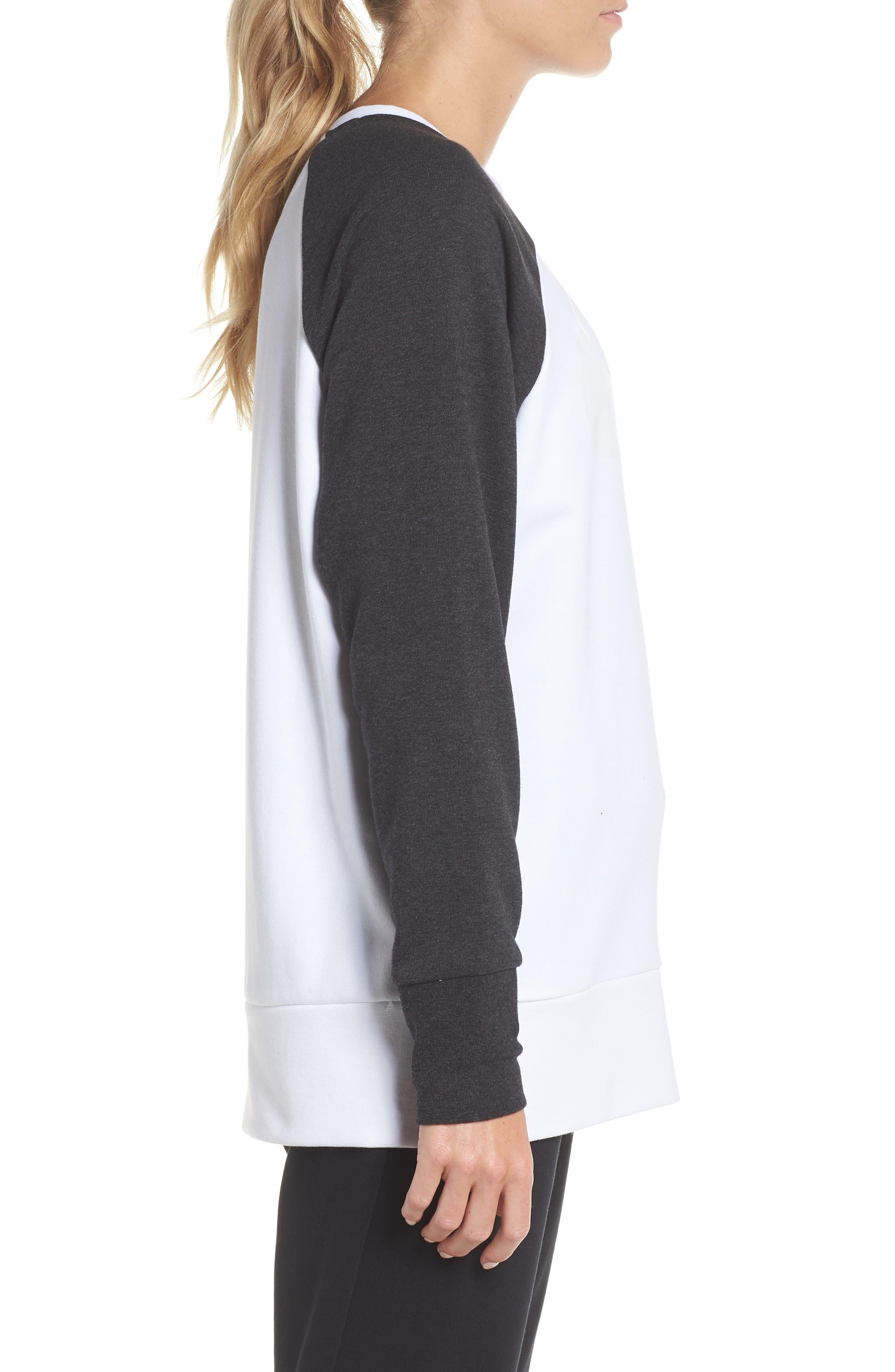 Dry Swoosh Sweatshirt,                             Alternate thumbnail 3, color,                             WHITE/ BLACK HEATHER/ WHITE