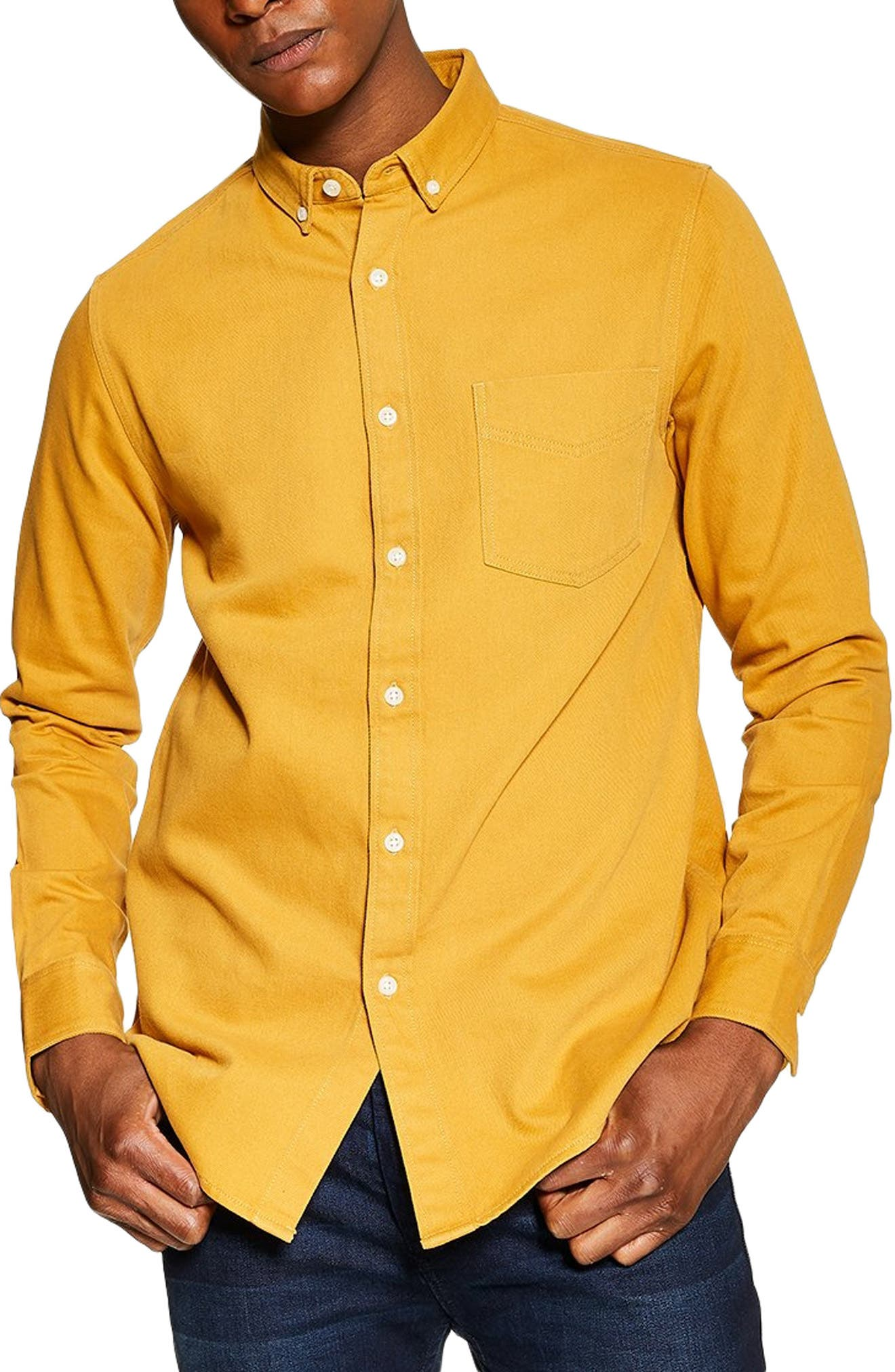 Slim Fit Twill Shirt, Main, color, YELLOW