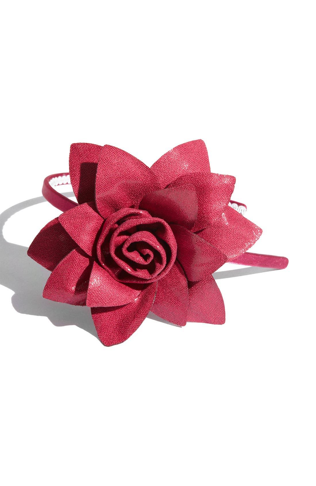 'Boa Rose Flower' Headband,                             Main thumbnail 5, color,