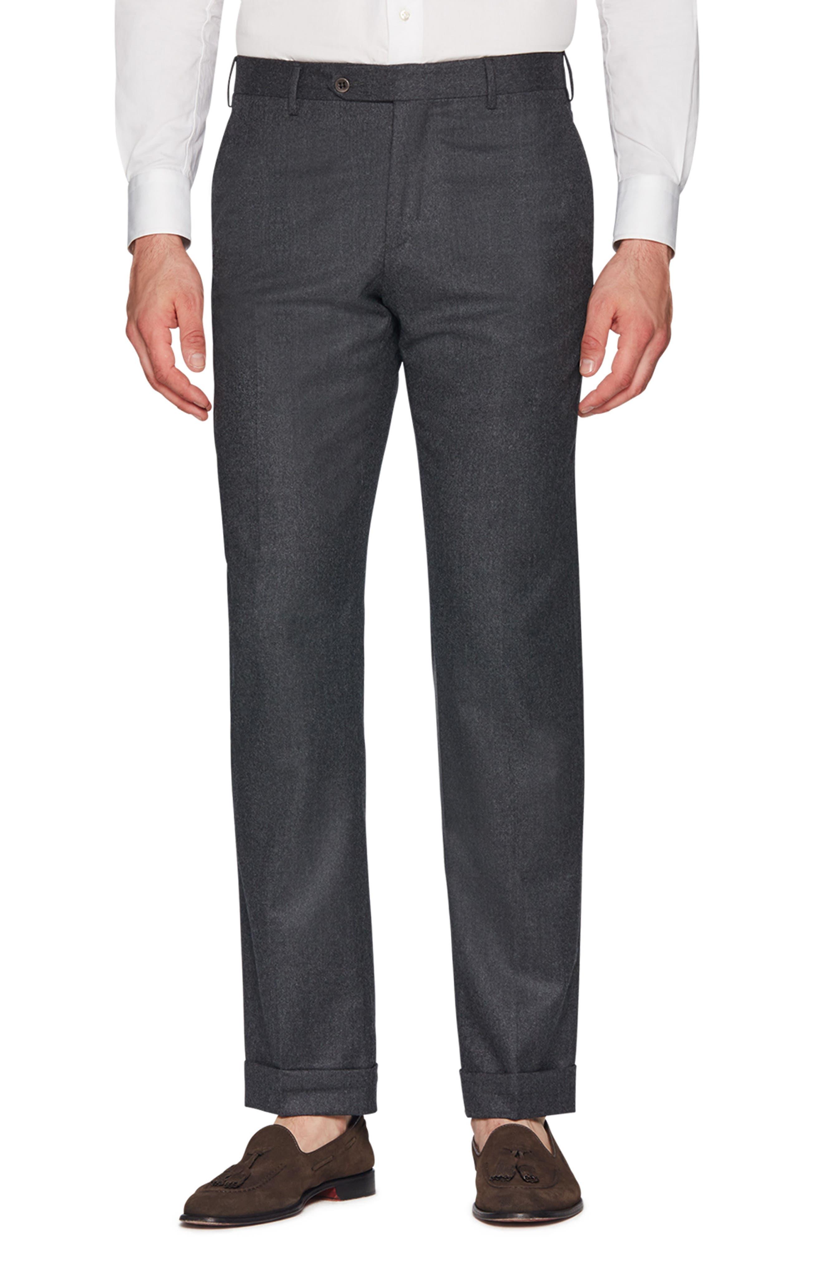 ZANELLA Parker Flat Front Wool Flannel Trousers in Charcoal