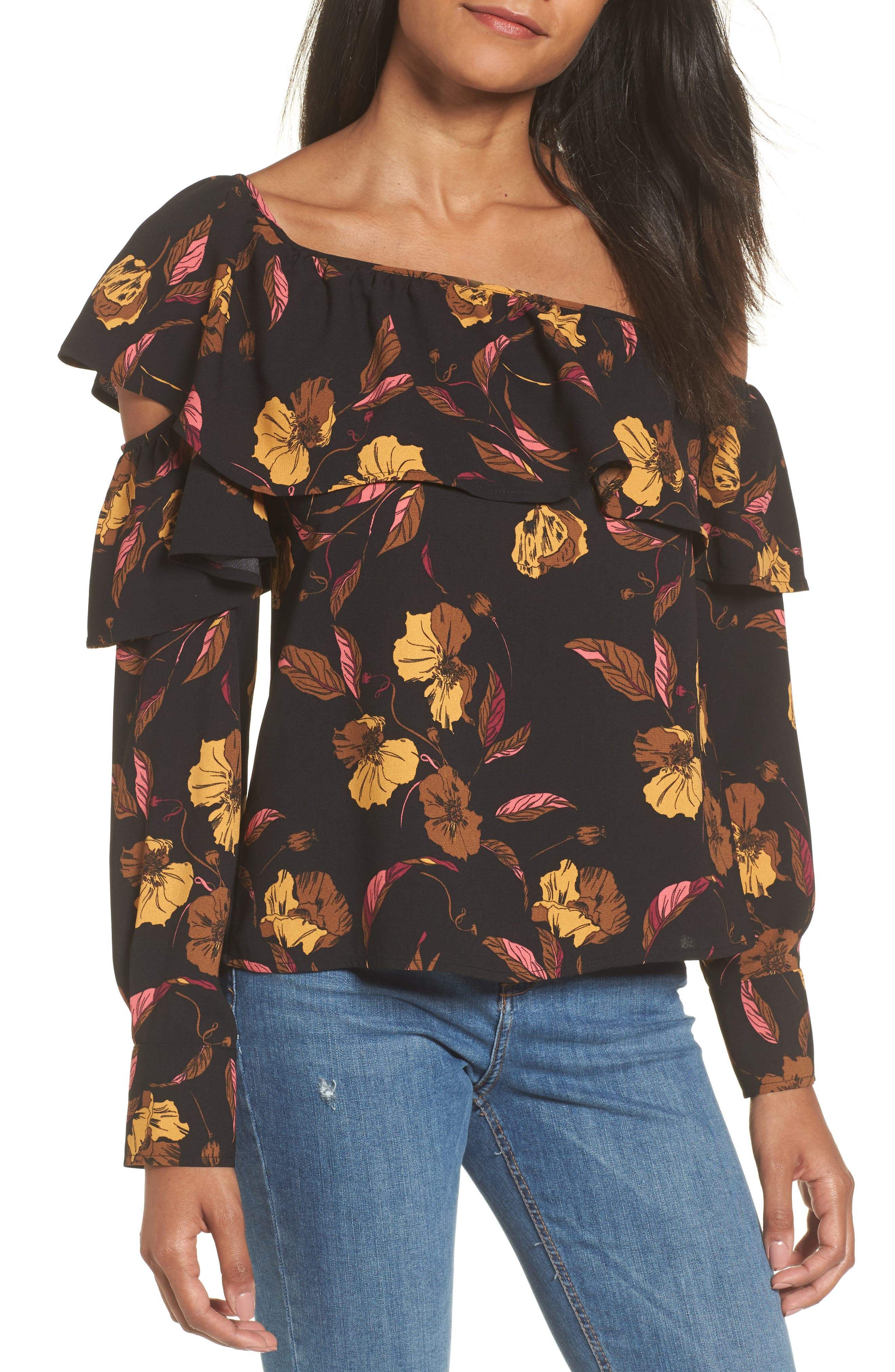 One-Shoulder Ruffle Top,                         Main,                         color,