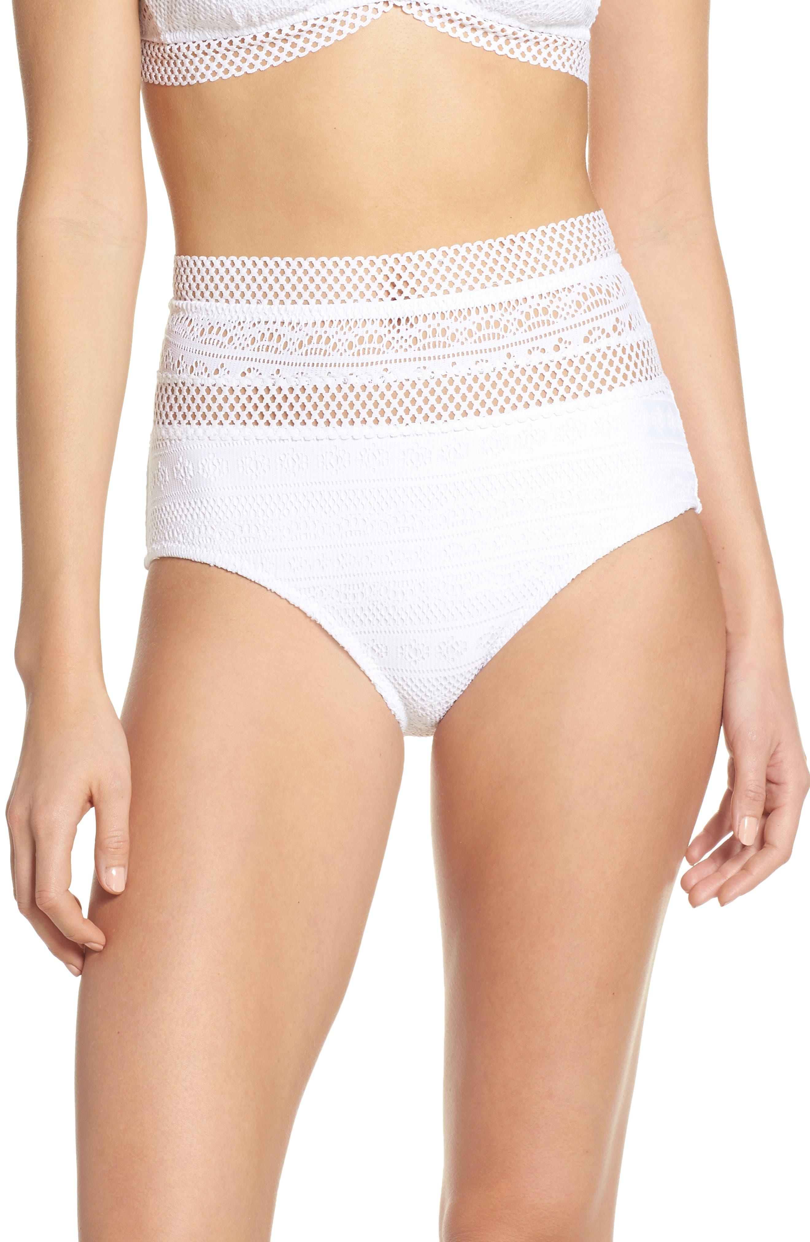 Becca Captured High Waist Bikini Bottoms, White