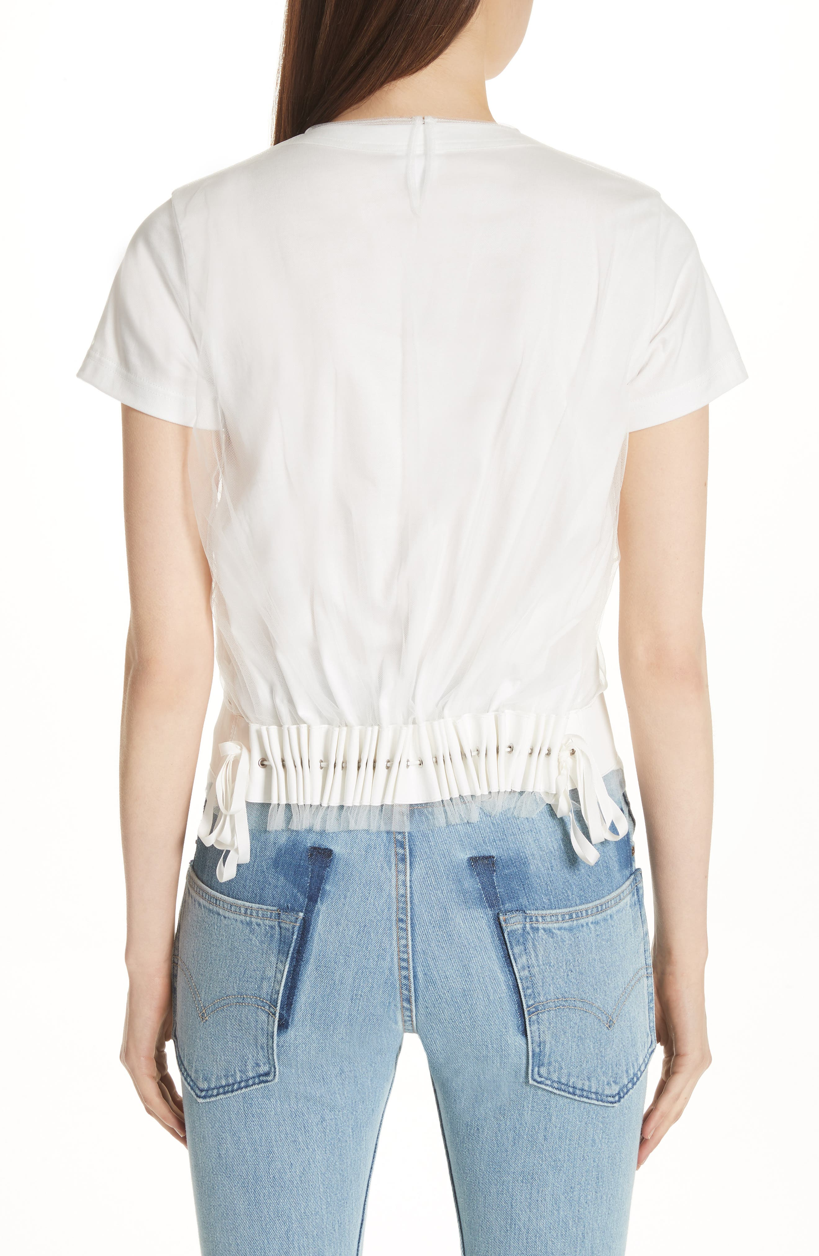 Tulle Back Tee,                             Alternate thumbnail 2, color,                             100