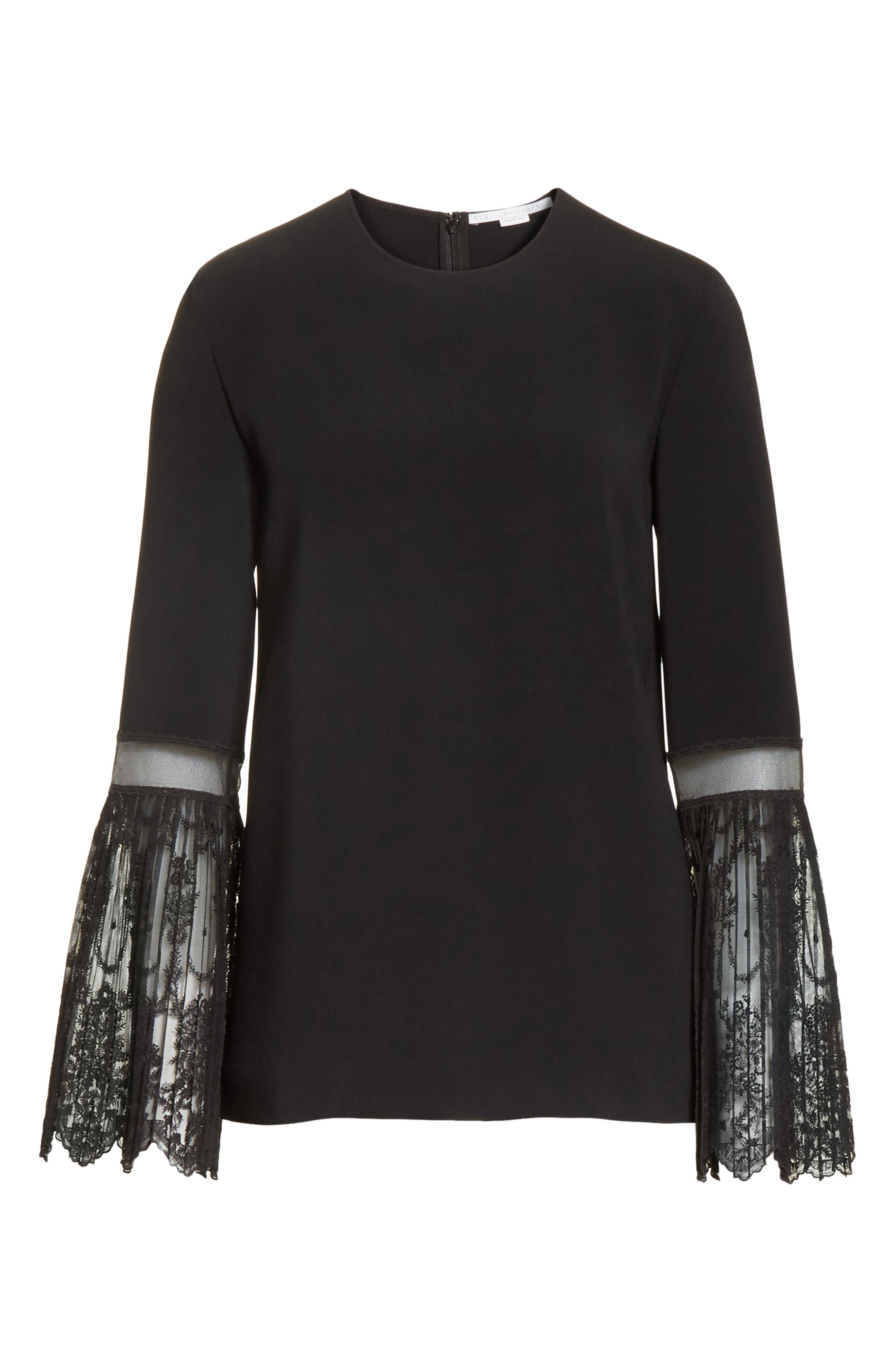 Tulle Cuff Stretch Cady Blouse,                             Alternate thumbnail 6, color,                             001