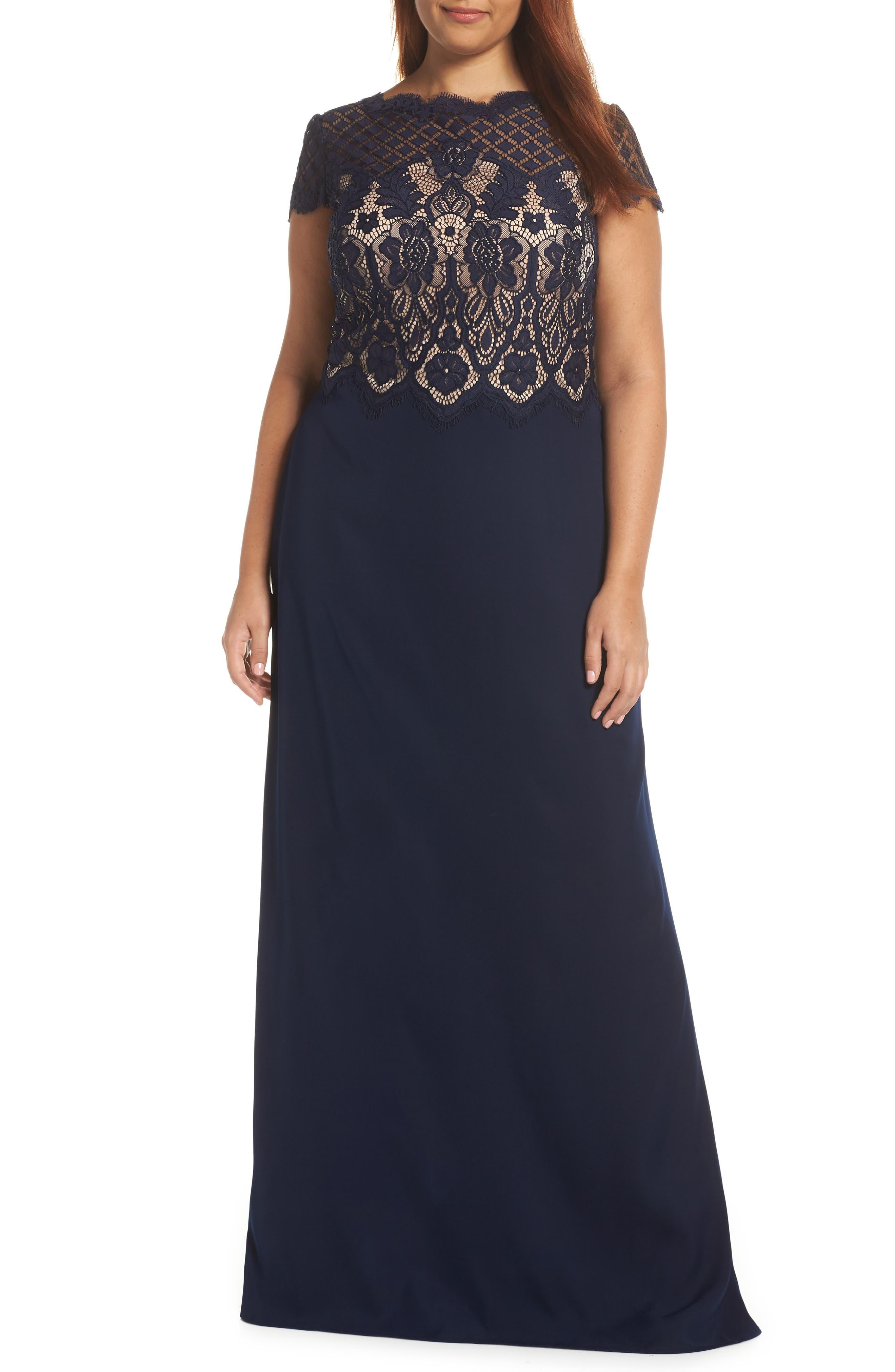 Lace & Crepe A-Line Gown,                             Alternate thumbnail 2, color,                             NAVY/ PETAL