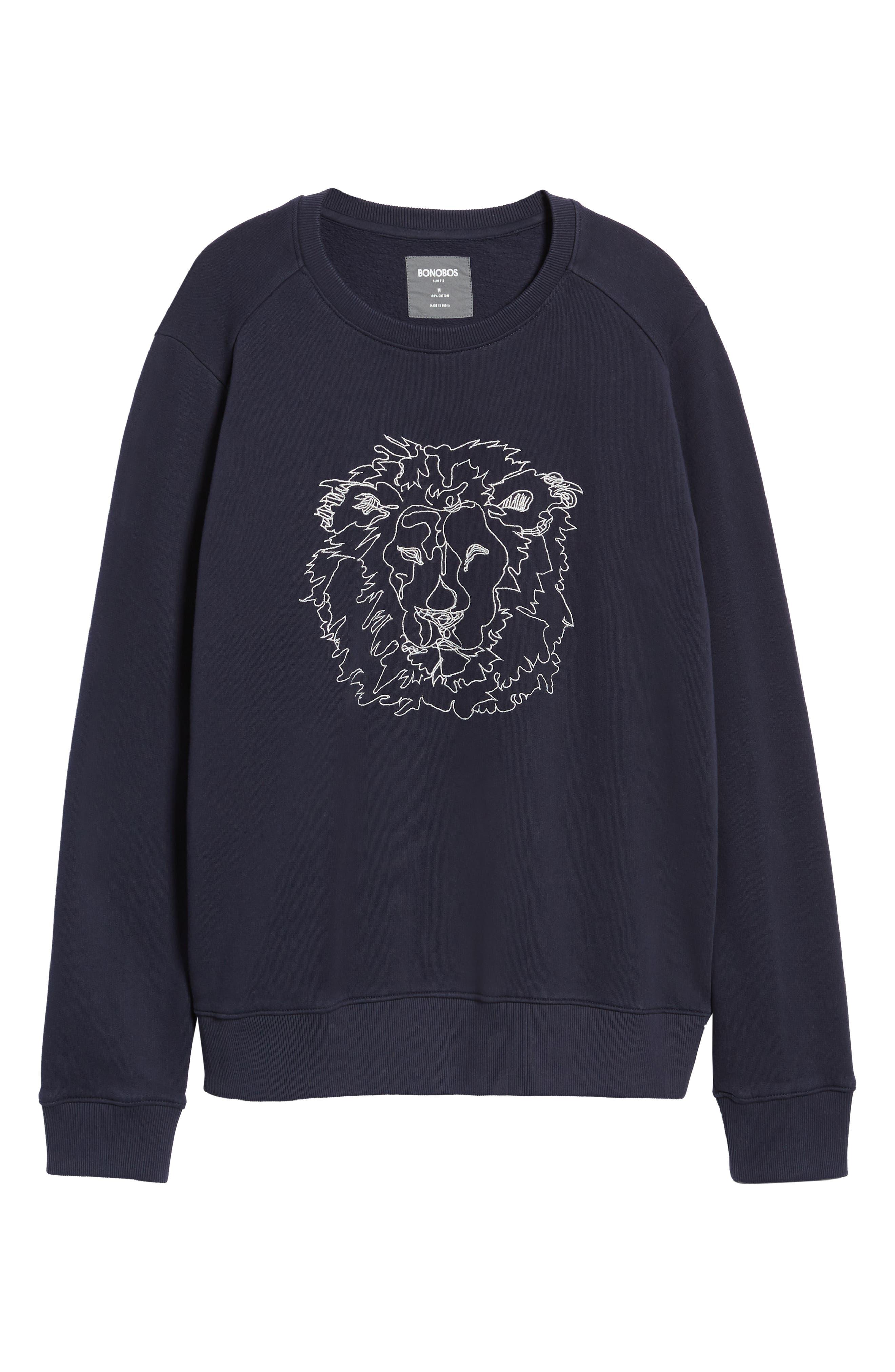 Slim Fit Lion Embroidered Sweatshirt,                             Alternate thumbnail 6, color,                             NAVY BLAZER
