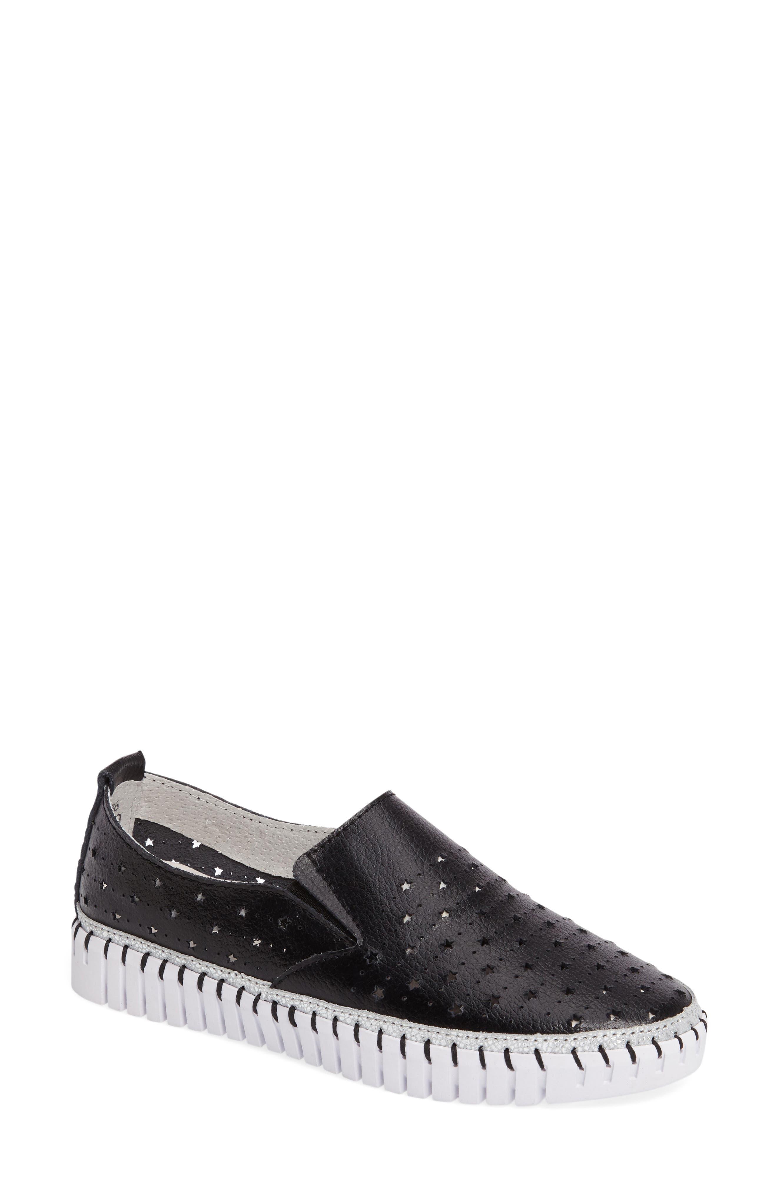 TW40 Slip-On Sneaker,                             Main thumbnail 1, color,                             BLACK LEATHER