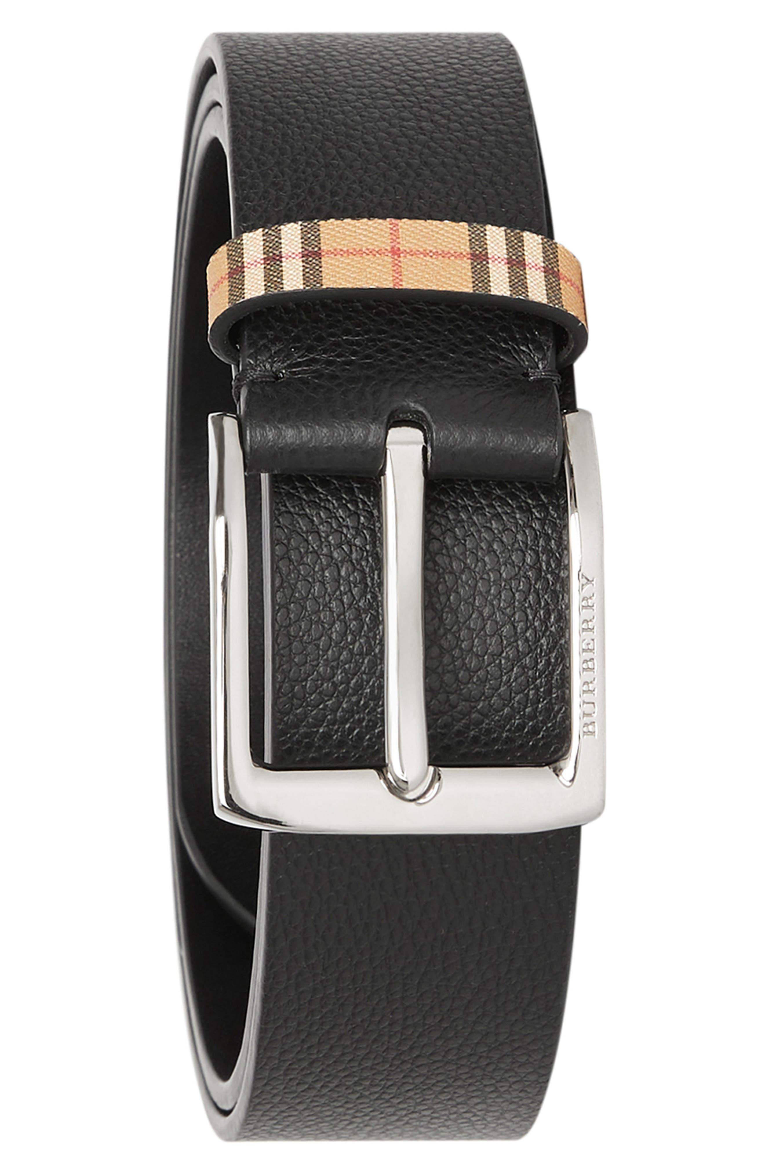 BURBERRY,                             Grainy Leather Belt,                             Main thumbnail 1, color,                             BLACK