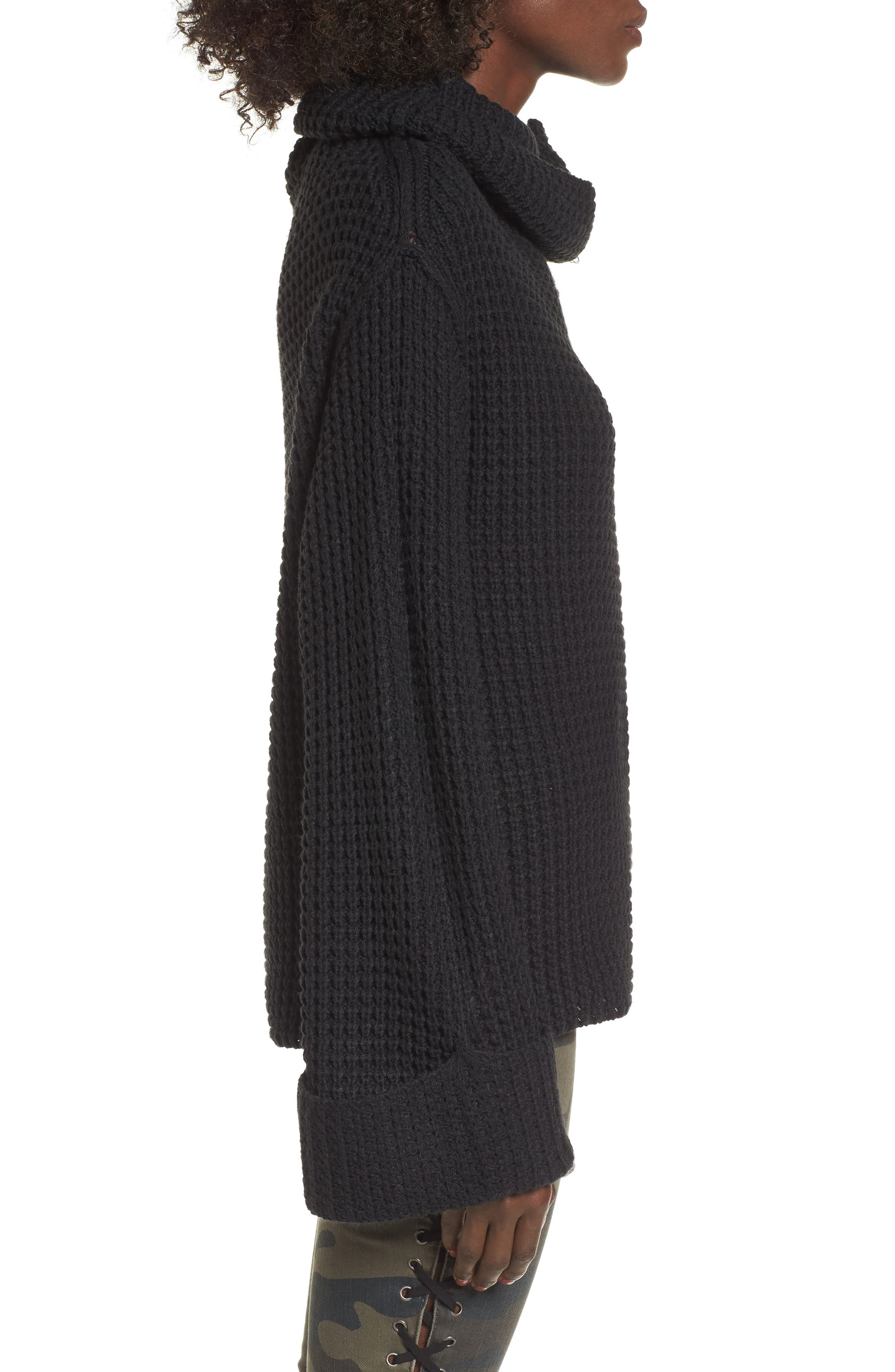 Cowl Neck Thermal Stitch Sweater,                             Alternate thumbnail 3, color,                             001
