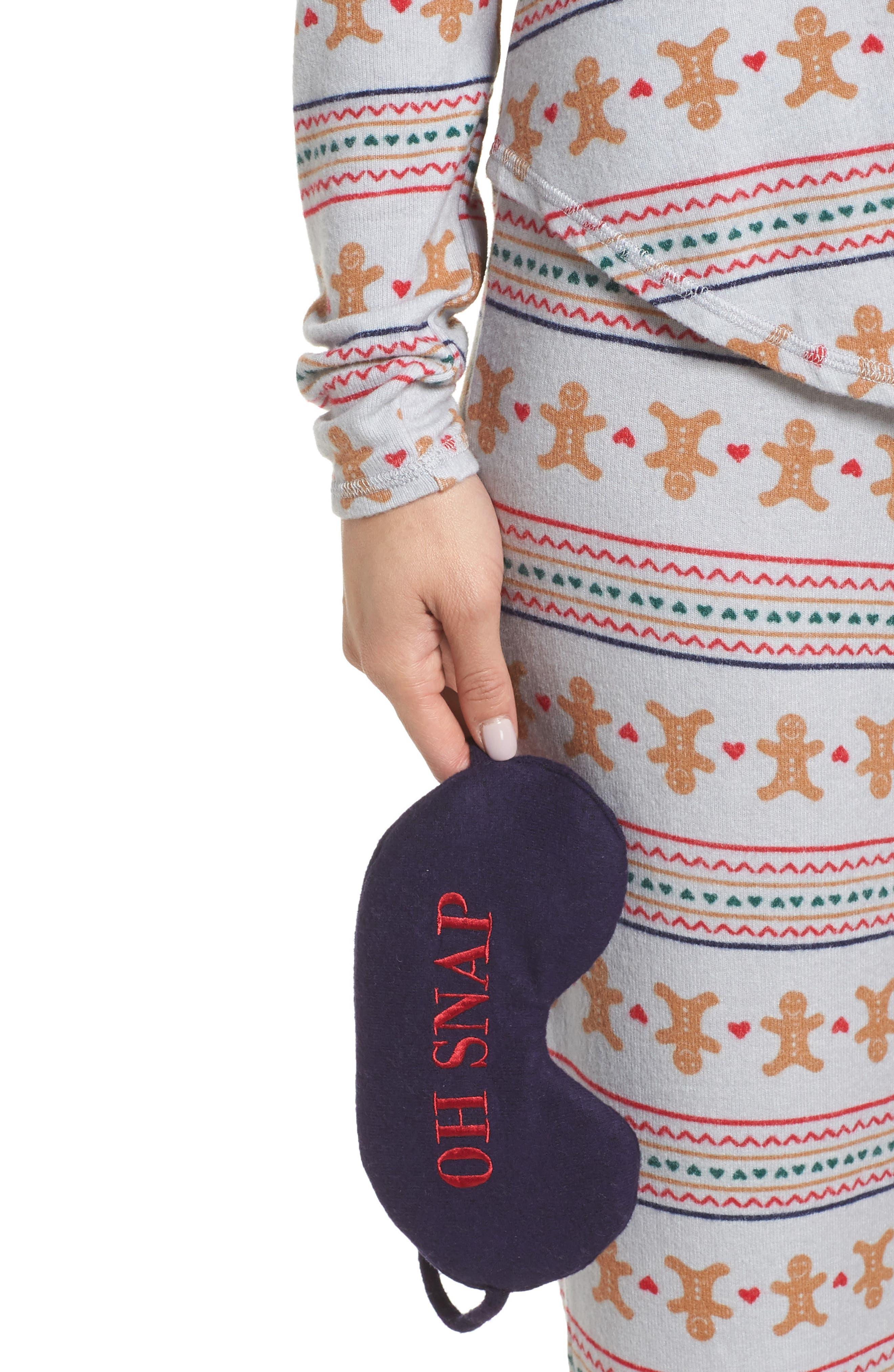 Knit Girlfriend Pajamas & Eye Mask,                             Alternate thumbnail 4, color,                             GREY MICRO GINGERBREAD
