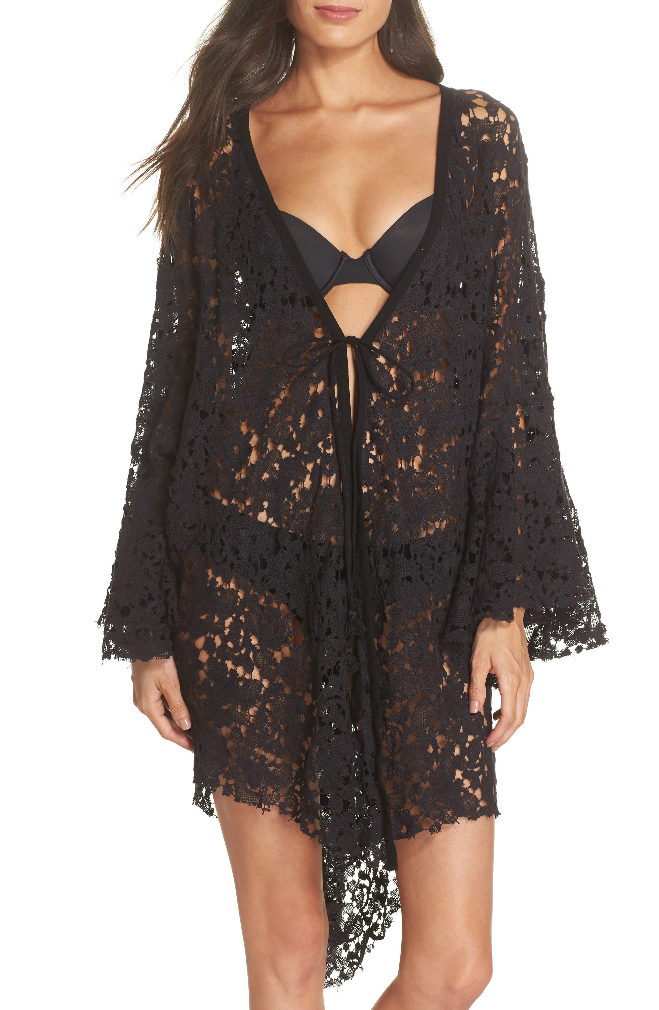 FREE PEOPLE,                             Move Over Lace Wrap,                             Main thumbnail 1, color,                             BLACK