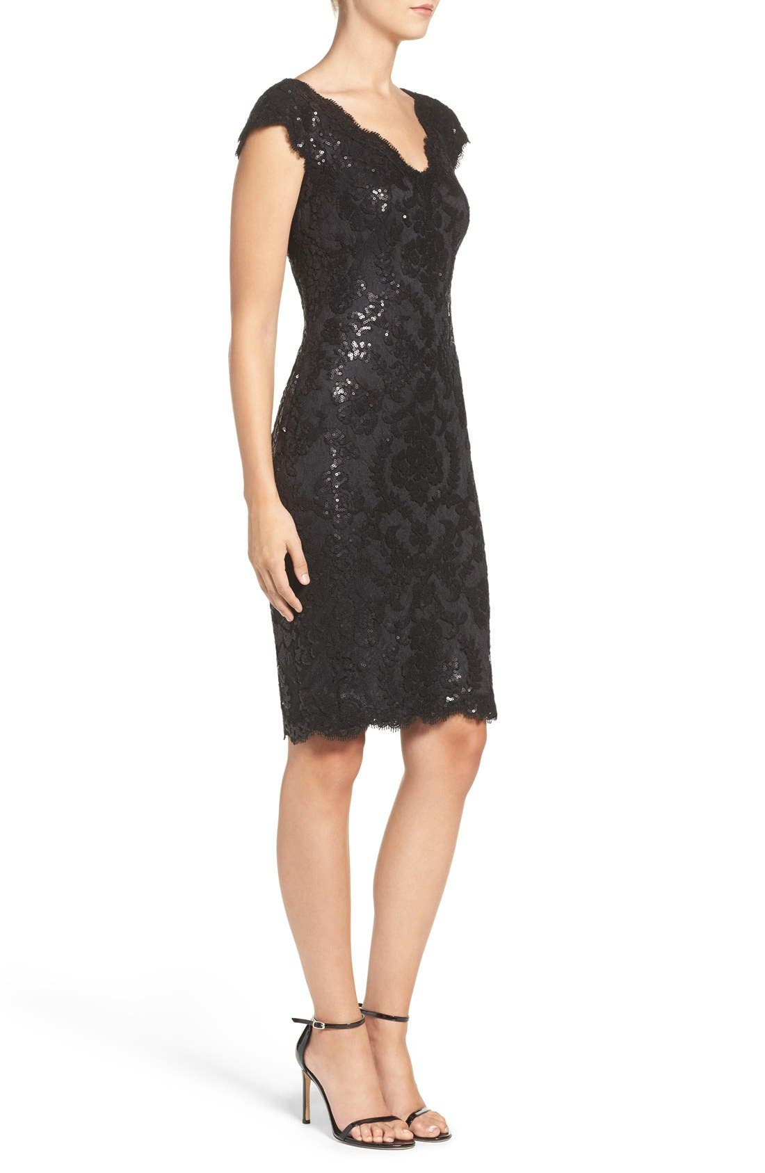 Sequin Sheath Dress,                             Alternate thumbnail 3, color,                             001