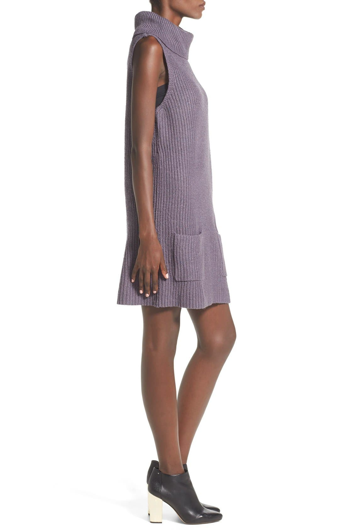 Sleeveless Turtleneck Sweater Dress,                             Alternate thumbnail 3, color,                             021