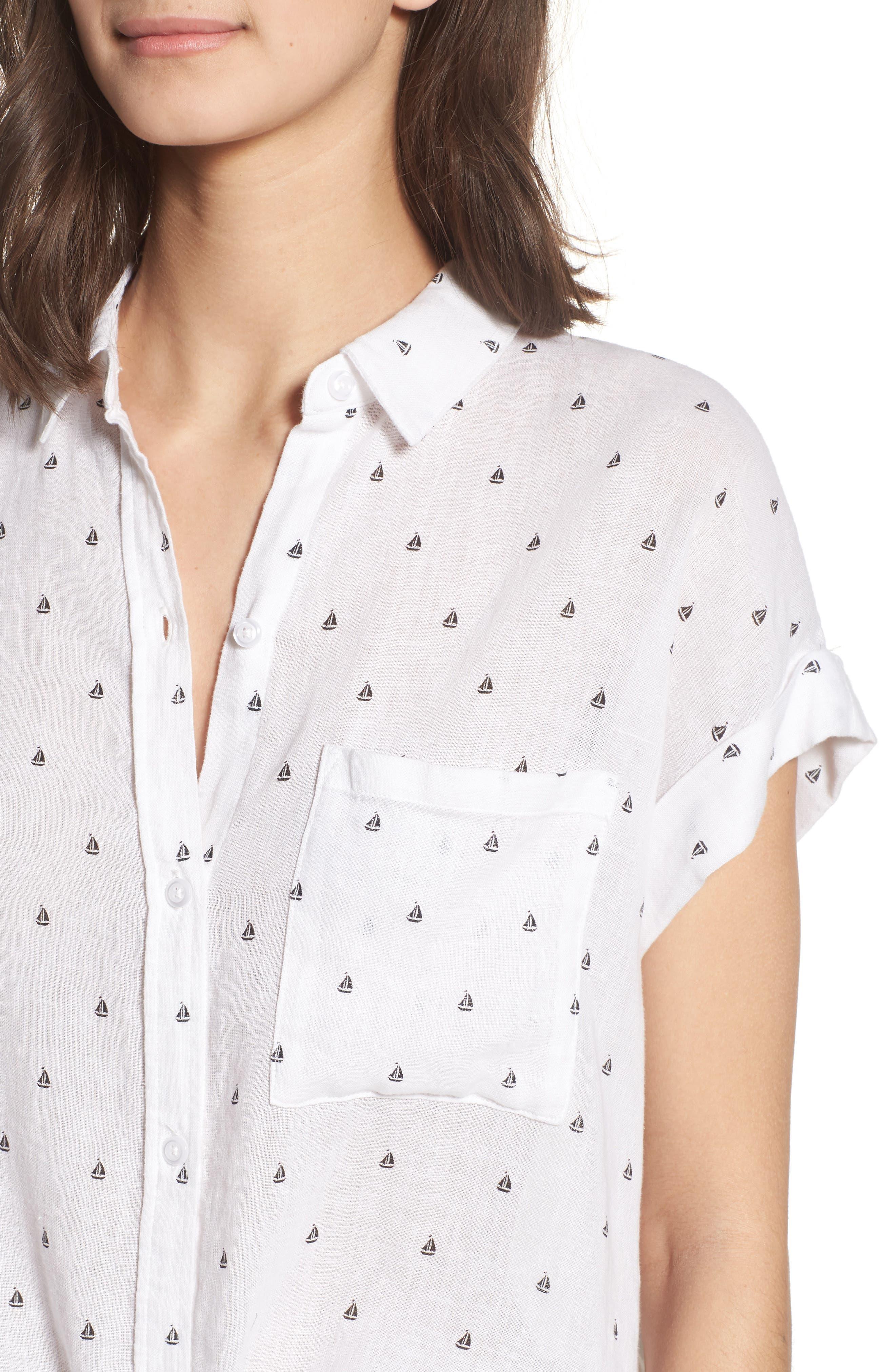 Whitney Sailboat Print Linen Blend Shirt,                             Alternate thumbnail 4, color,                             102