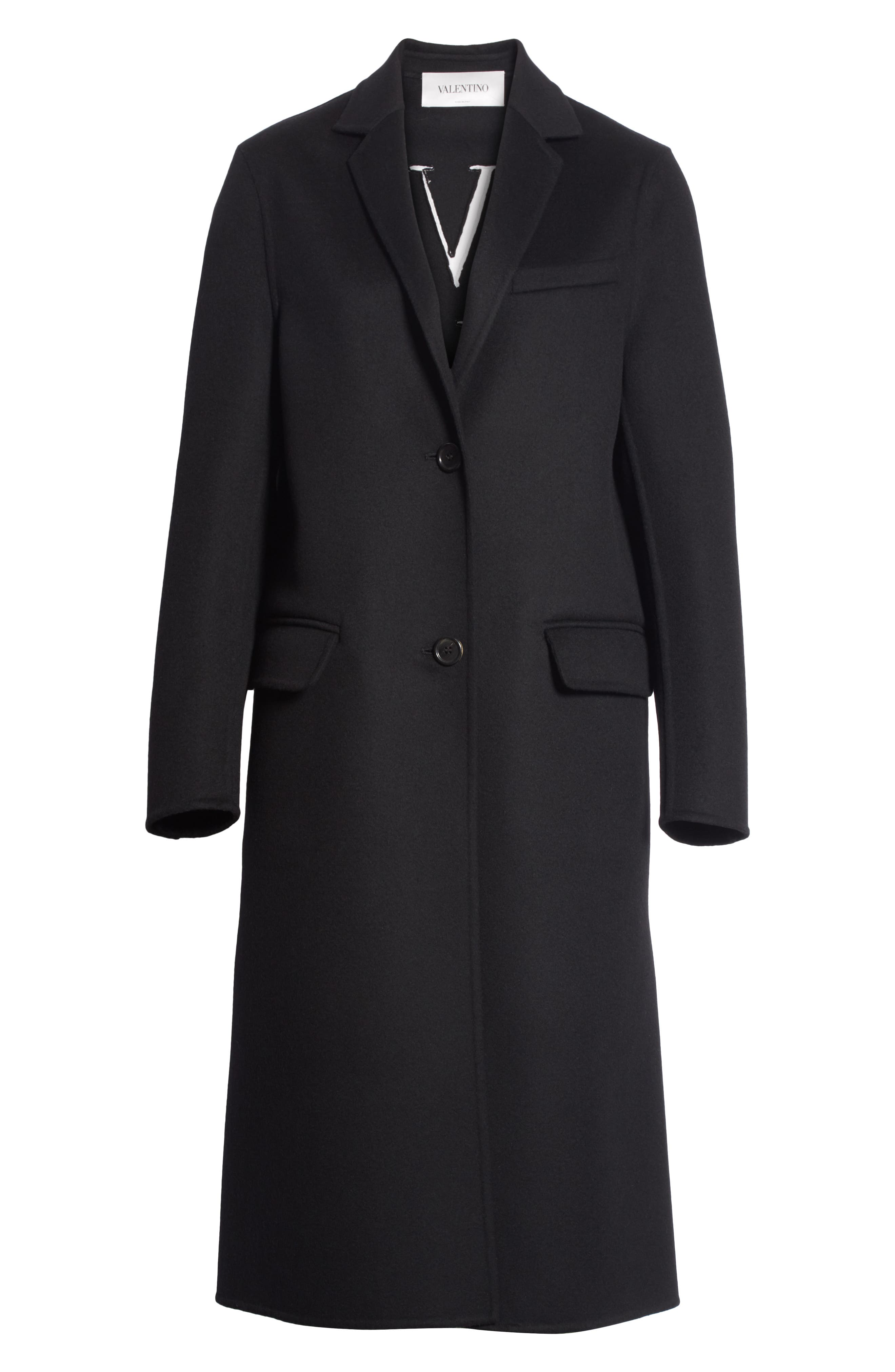 VLTN Logo Back Wool & Cashmere Coat,                             Alternate thumbnail 5, color,                             BLACK