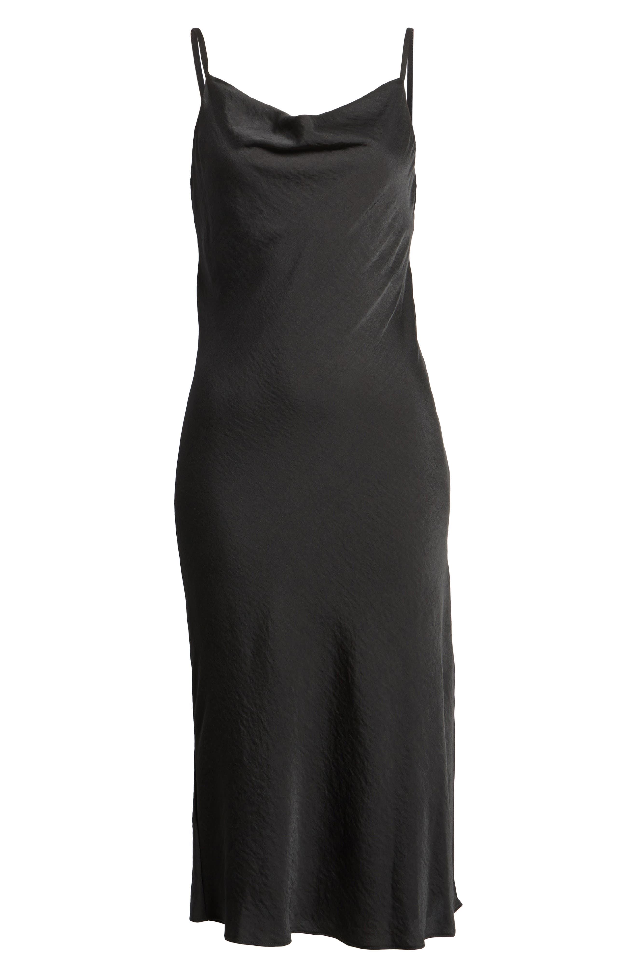 Cowl Neck Satin Midi Dress,                             Alternate thumbnail 6, color,                             001