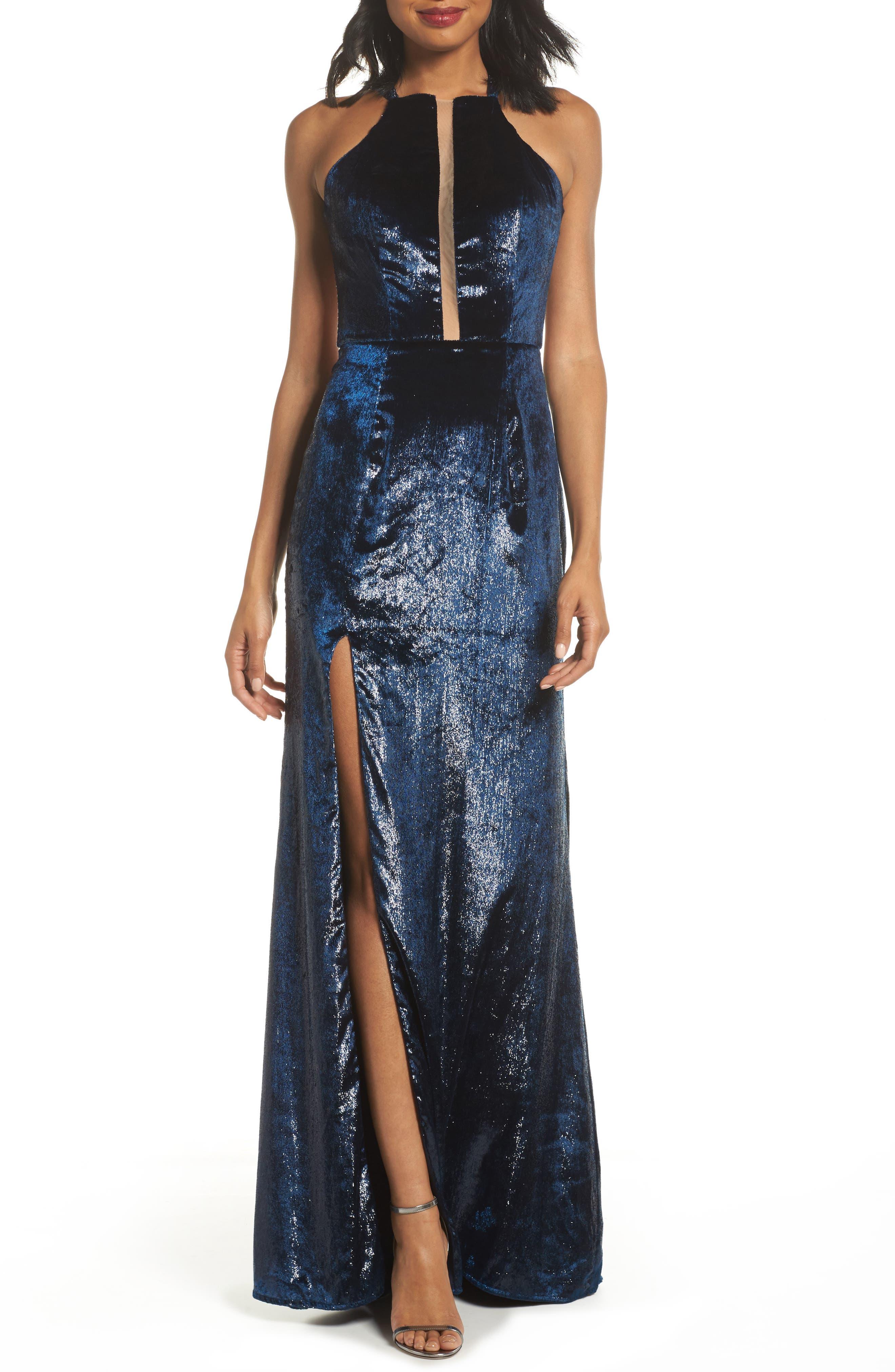 La Femme Open Back Textured Velvet Gown, Blue