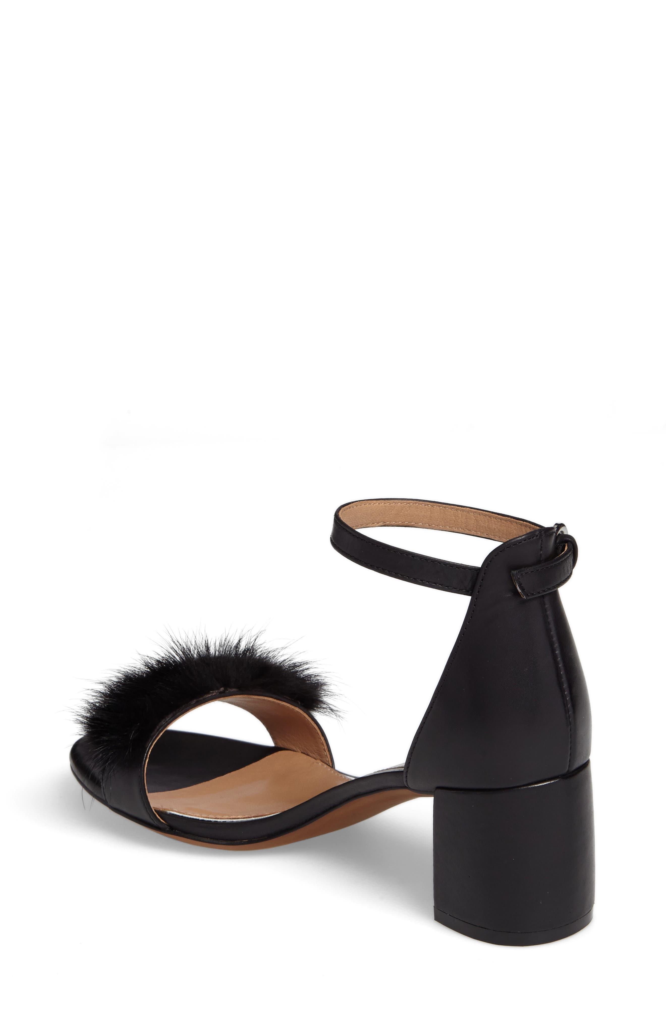 Hepburn Genuine Mink Fur Sandal,                             Alternate thumbnail 2, color,                             008