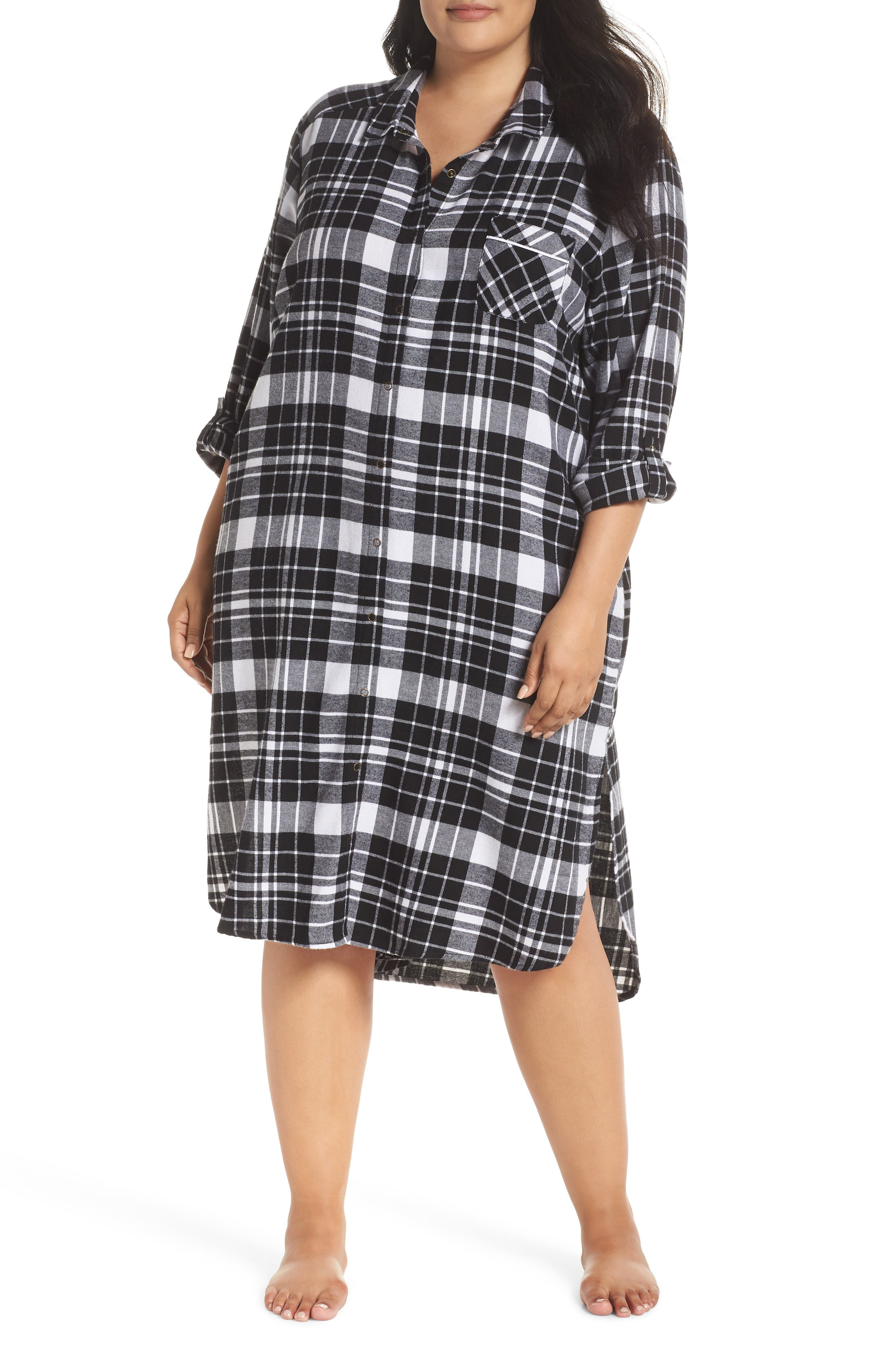 Long Flannel Nightshirt,                         Main,                         color, 001