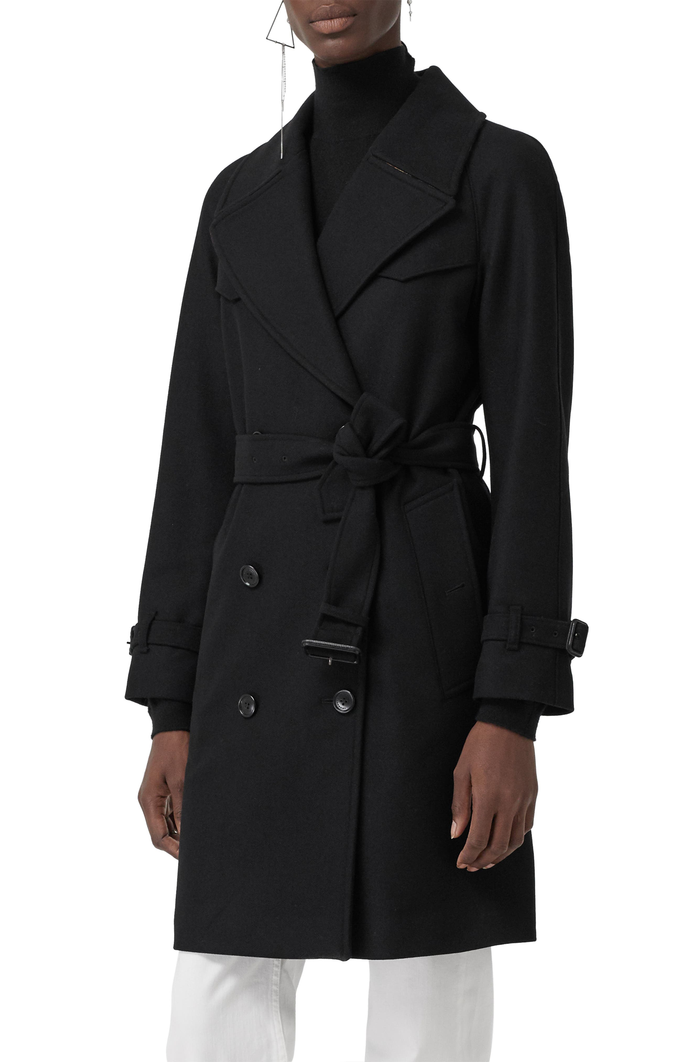 BURBERRY,                             Cranston Wool Blend Trench Coat,                             Main thumbnail 1, color,                             001