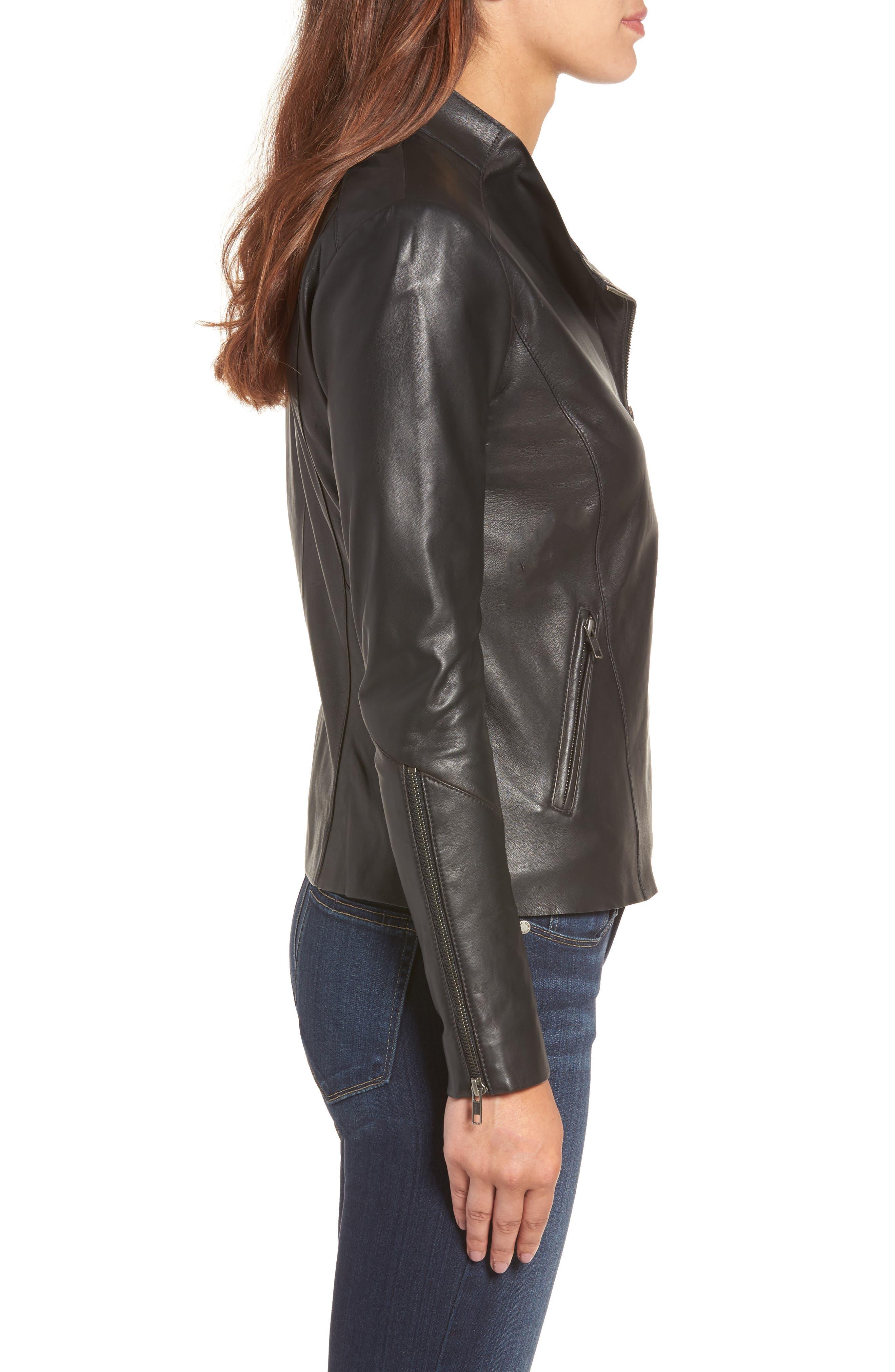 Asymmetrical Leather Jacket,                             Alternate thumbnail 5, color,