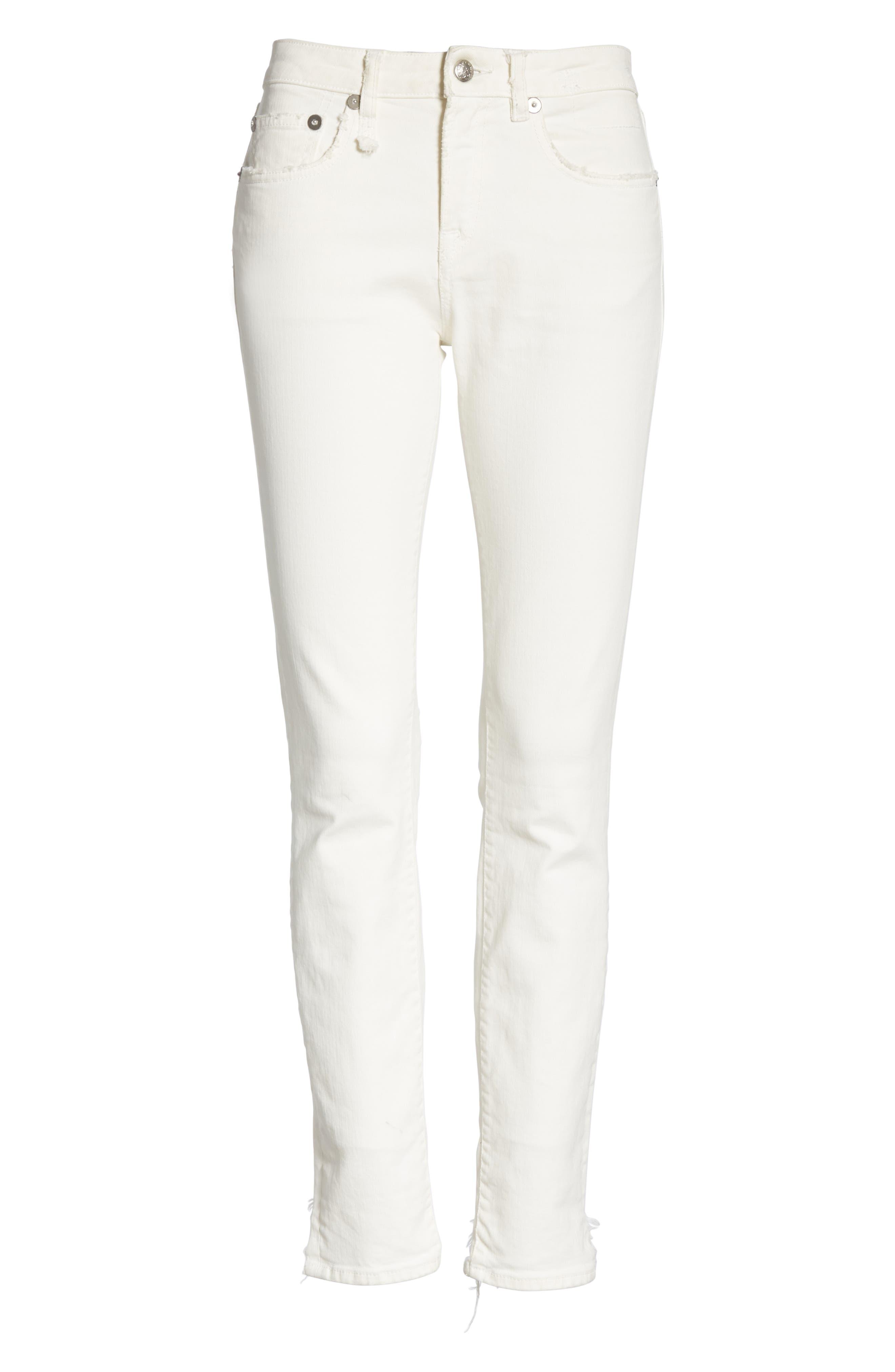 R13,                             Allison Distressed Skinny Jeans,                             Alternate thumbnail 6, color,                             GARRET WHITE