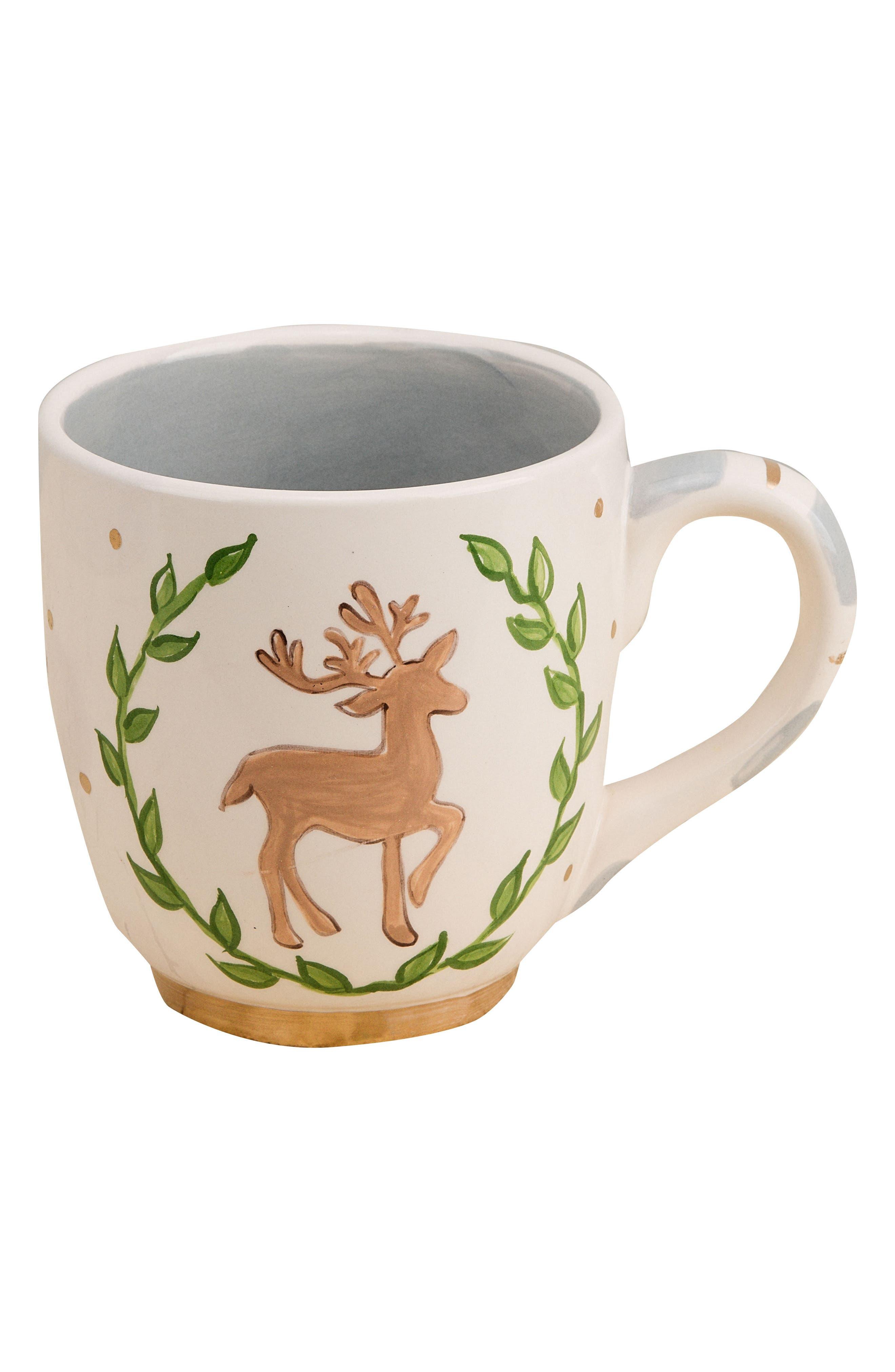 Merry Christmas Reindeer Jumbo Ceramic Mug, Main, color, 100