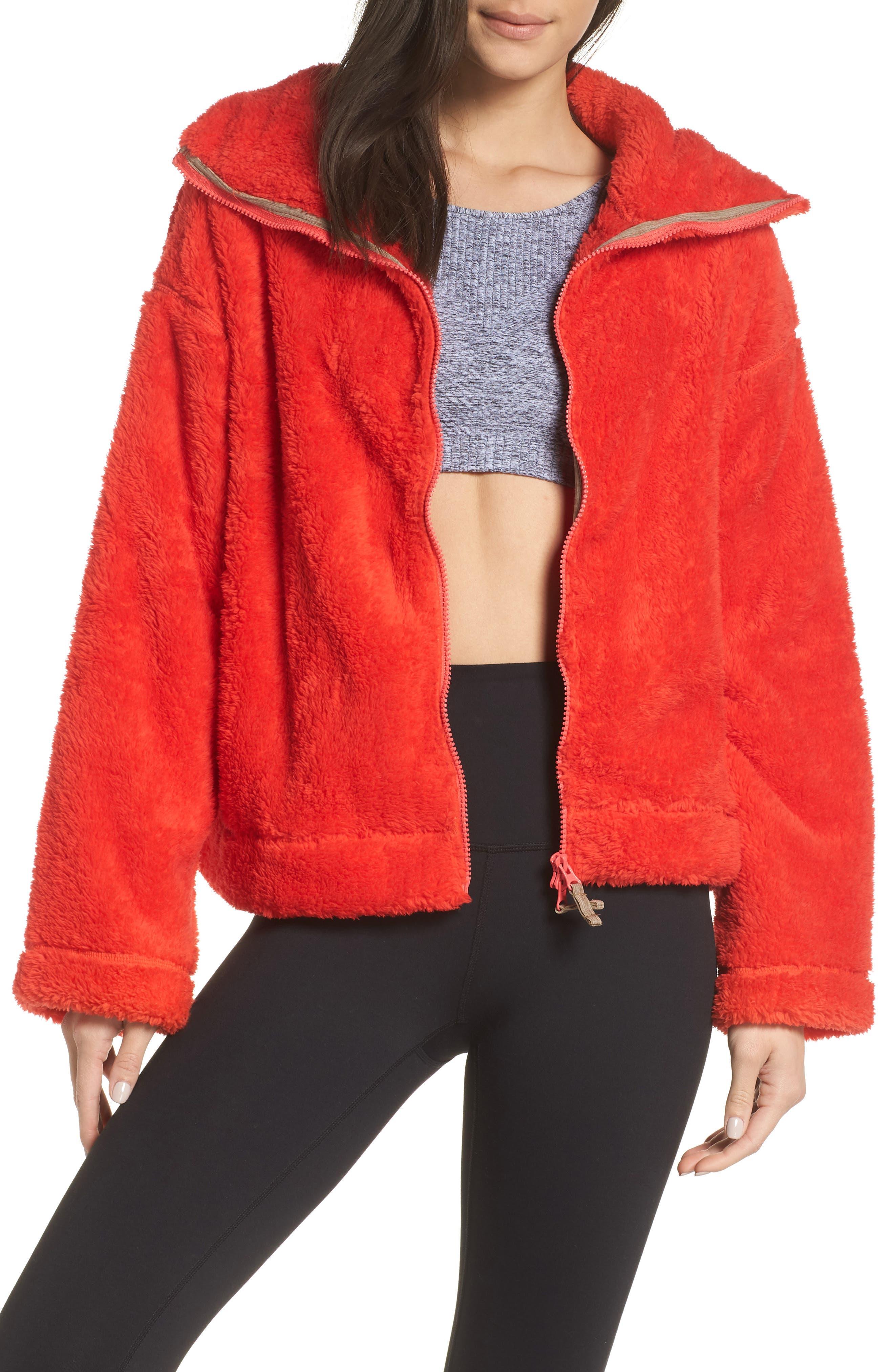 Free People Dazed Fleece Jacket, Red