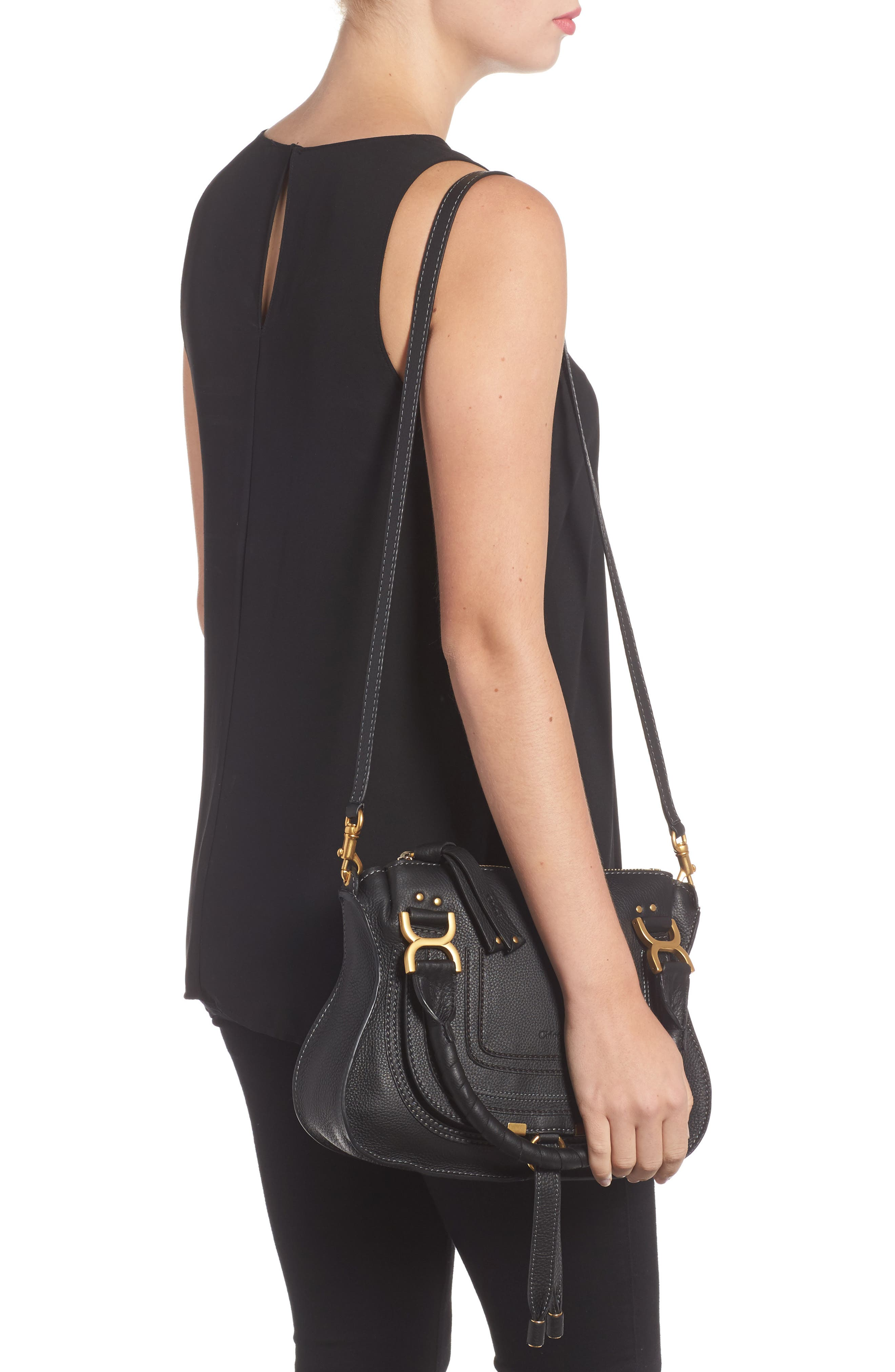 Marcie Small Double Carry Bag,                             Alternate thumbnail 2, color,                             BLACK