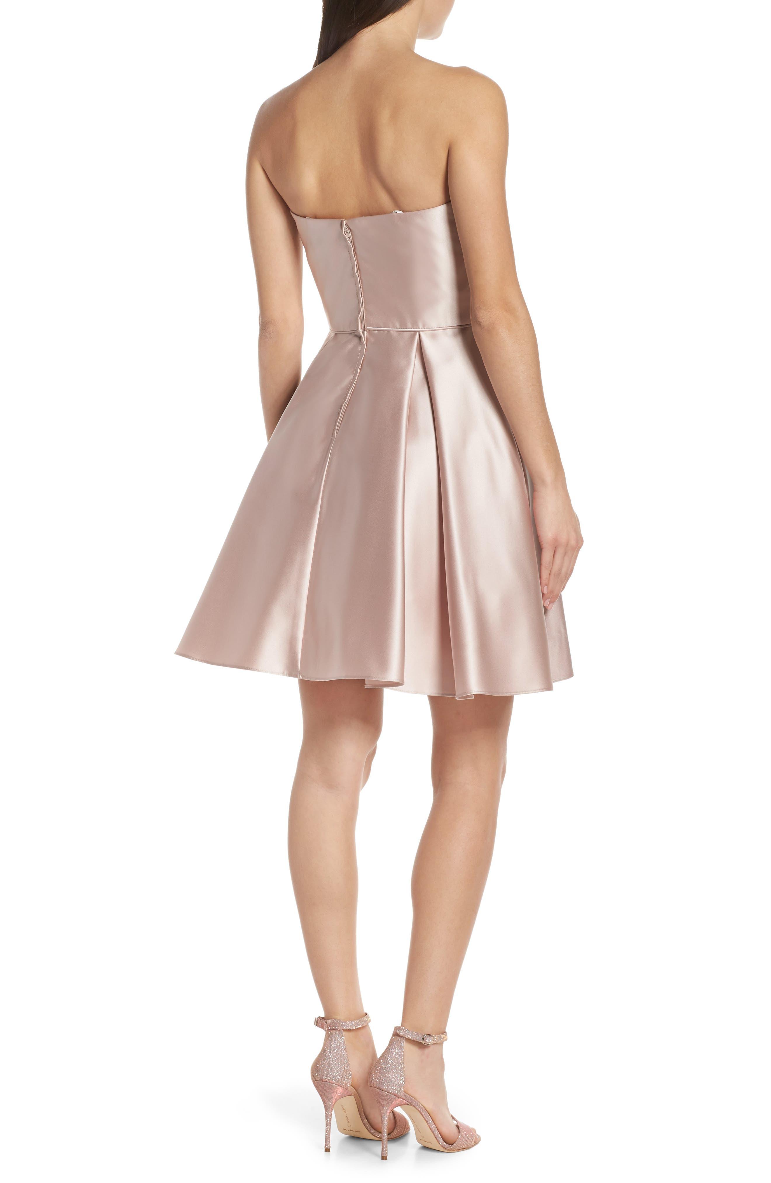 BLONDIE NITES,                             Embellished Satin Fit & Flare Dress,                             Alternate thumbnail 2, color,                             BEIGE