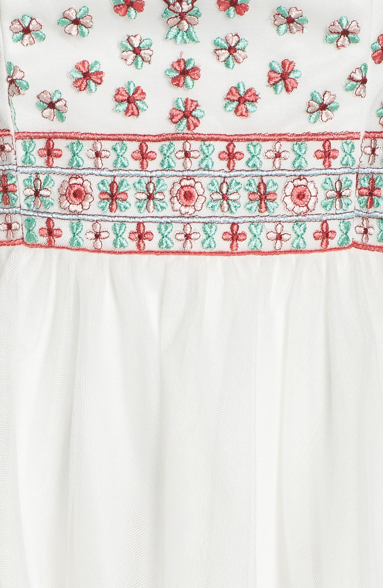 Embroidered Fit & Flare Halter Dress,                             Alternate thumbnail 5, color,                             IVORY/ MULTI
