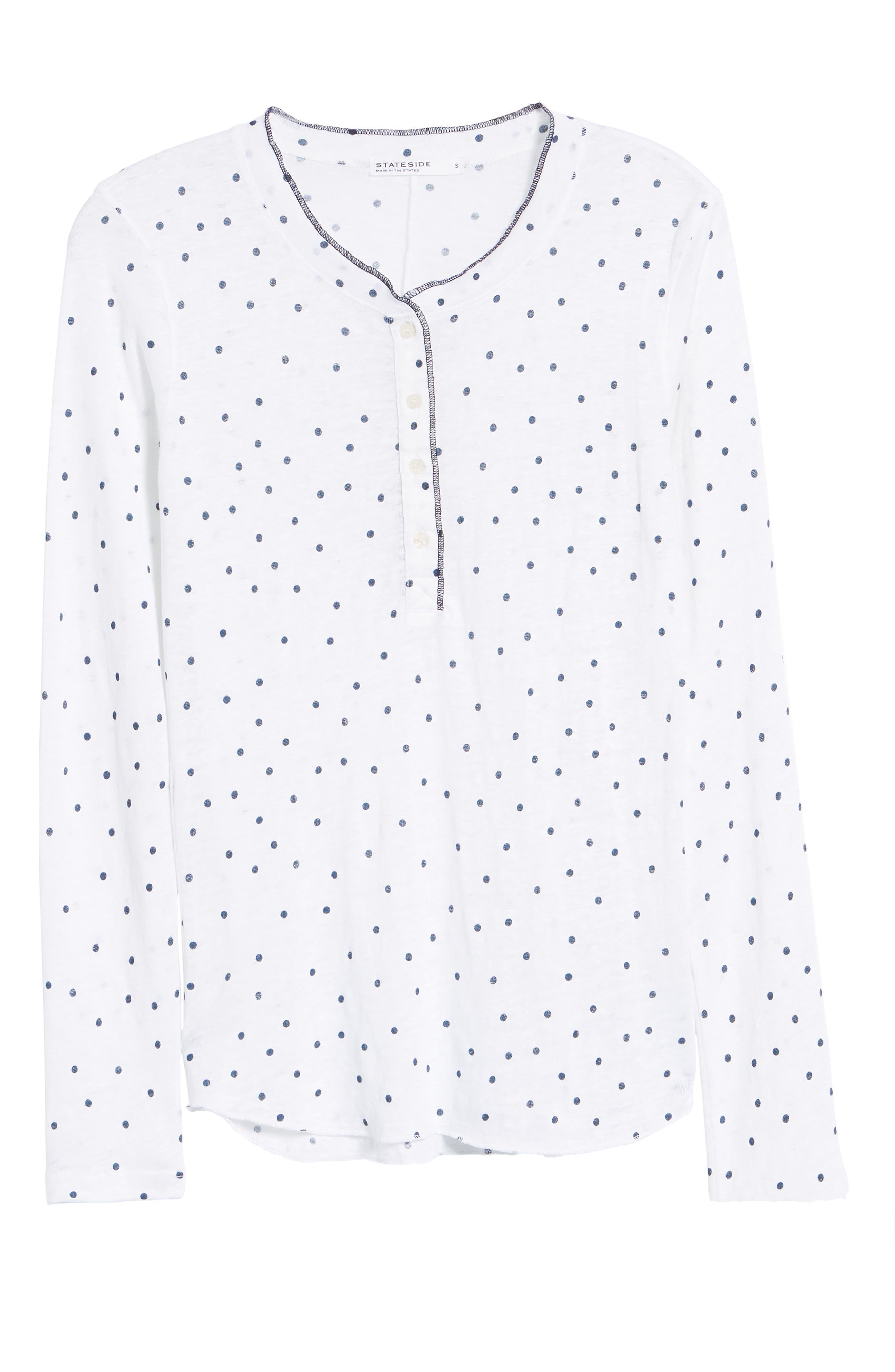 Dot Linen Henley Shirt,                             Alternate thumbnail 6, color,                             410