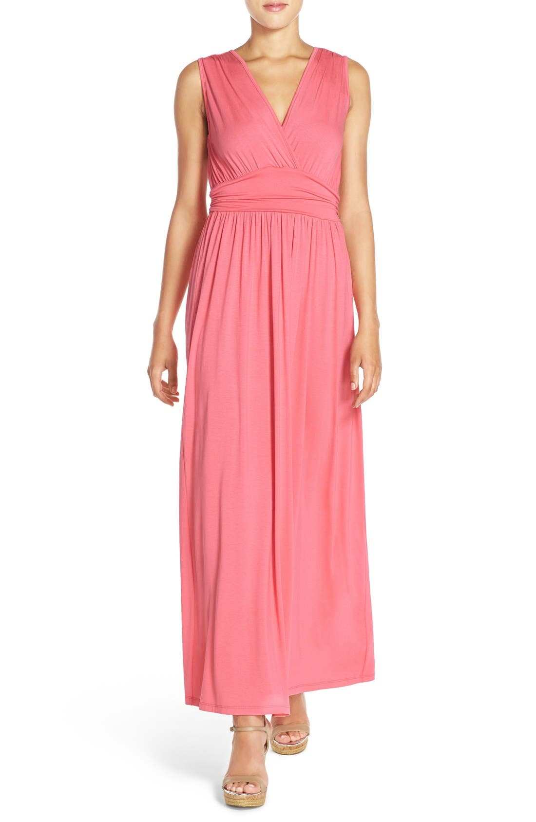Surplice Jersey Maxi Dress,                             Main thumbnail 1, color,                             CORAL