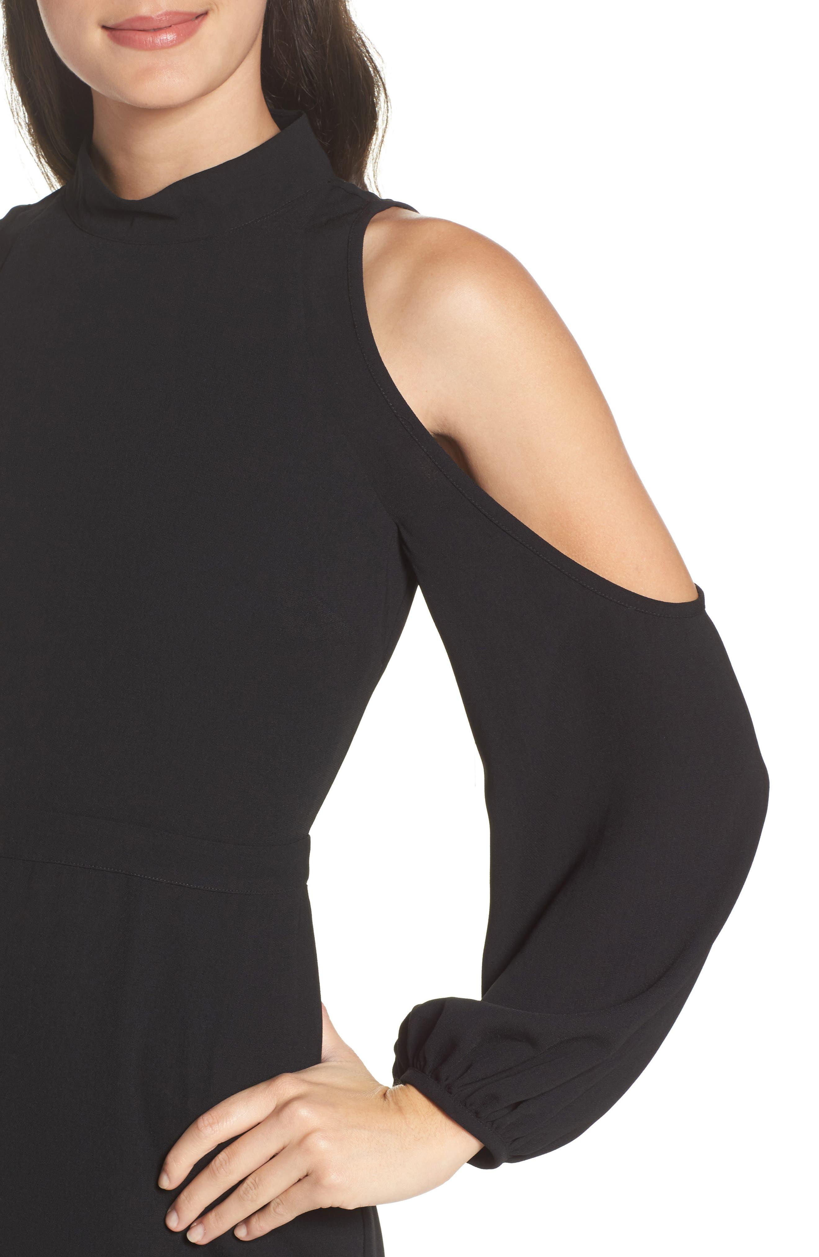 Power Shoulder Sheath Dress,                             Alternate thumbnail 4, color,                             001