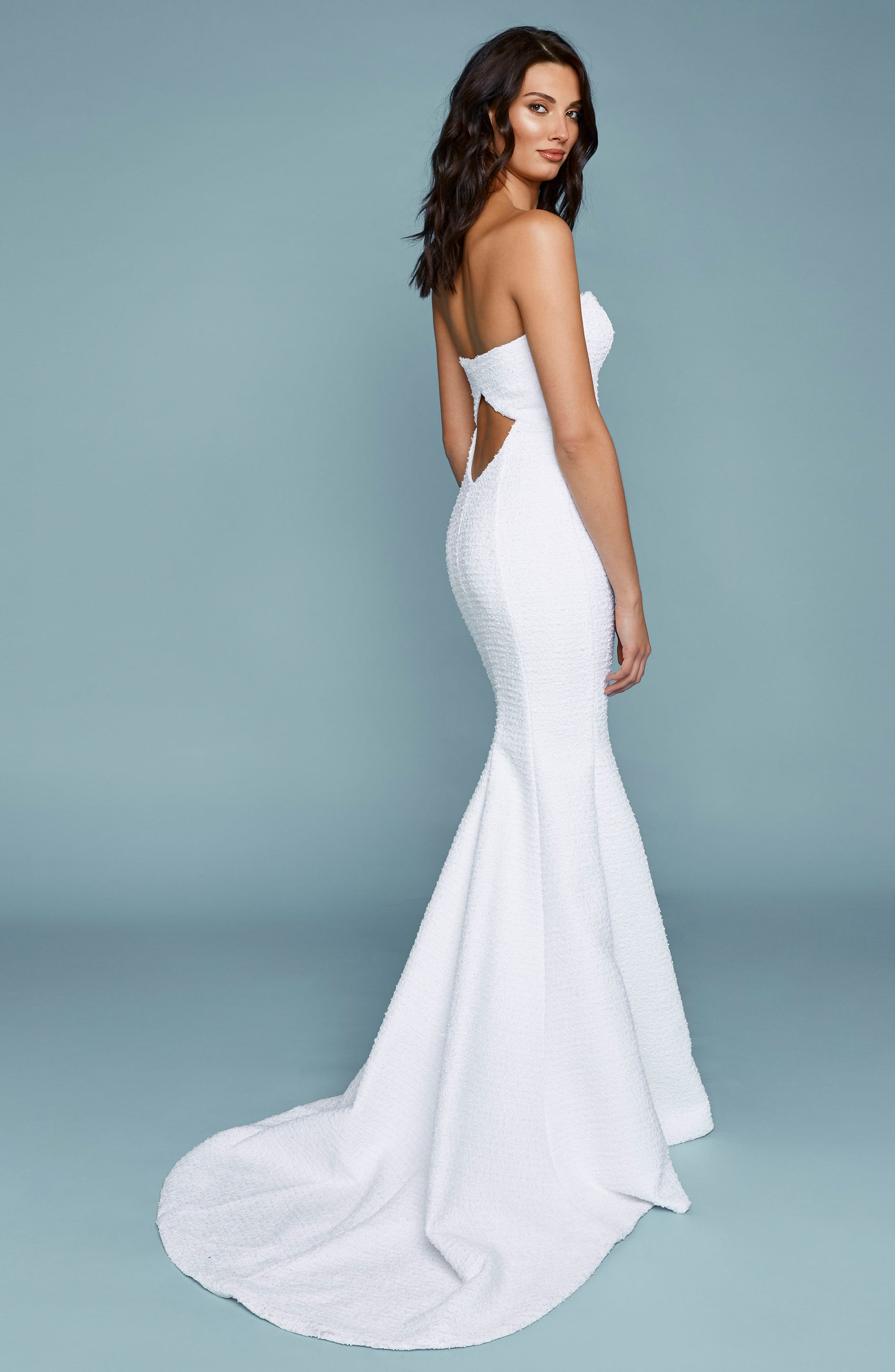 Positano Strapless French Tweed Mermaid Gown,                             Alternate thumbnail 2, color,                             IVORY