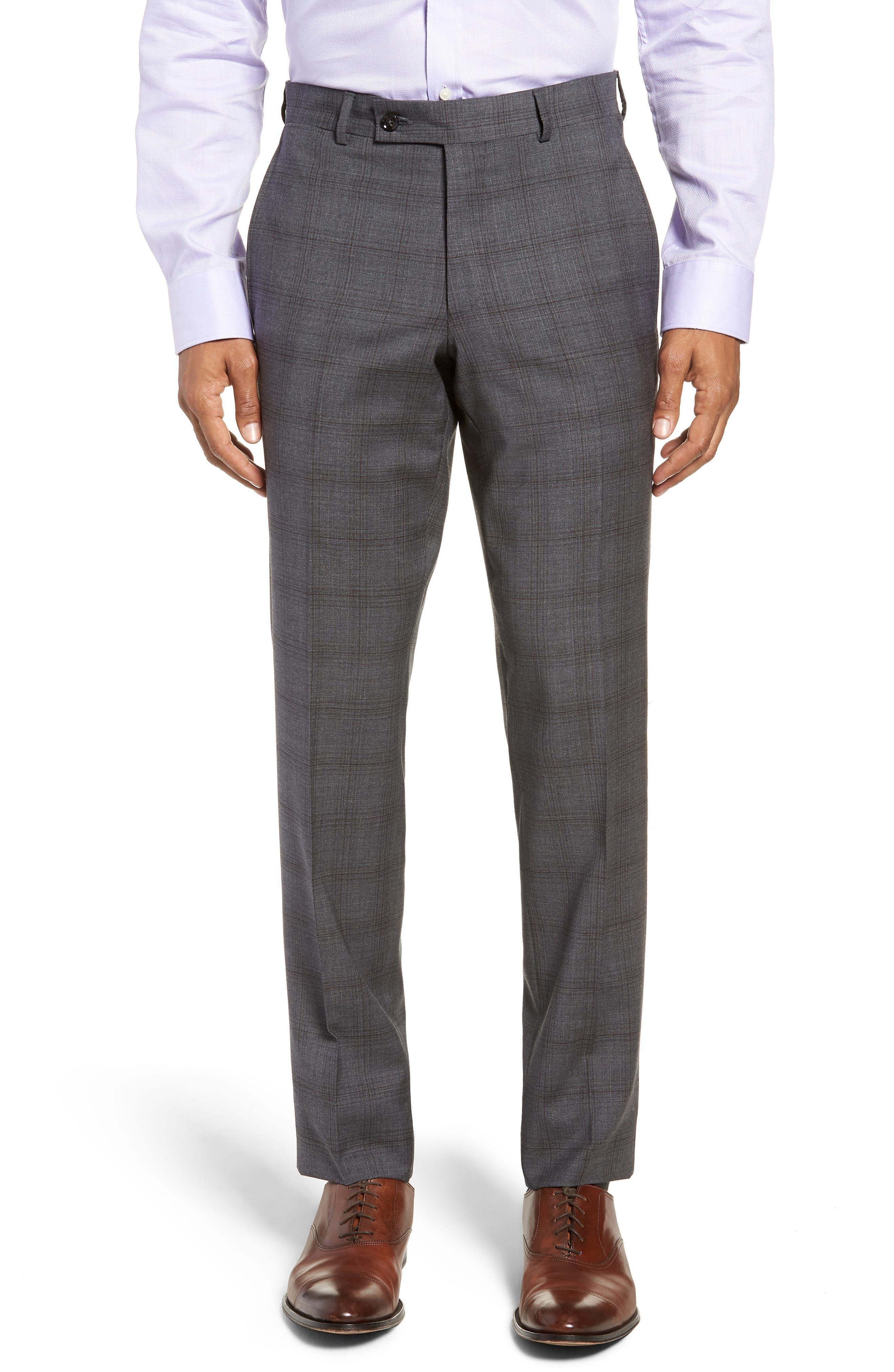 Jay Trim Fit Plaid Wool Suit,                             Alternate thumbnail 5, color,                             GREY