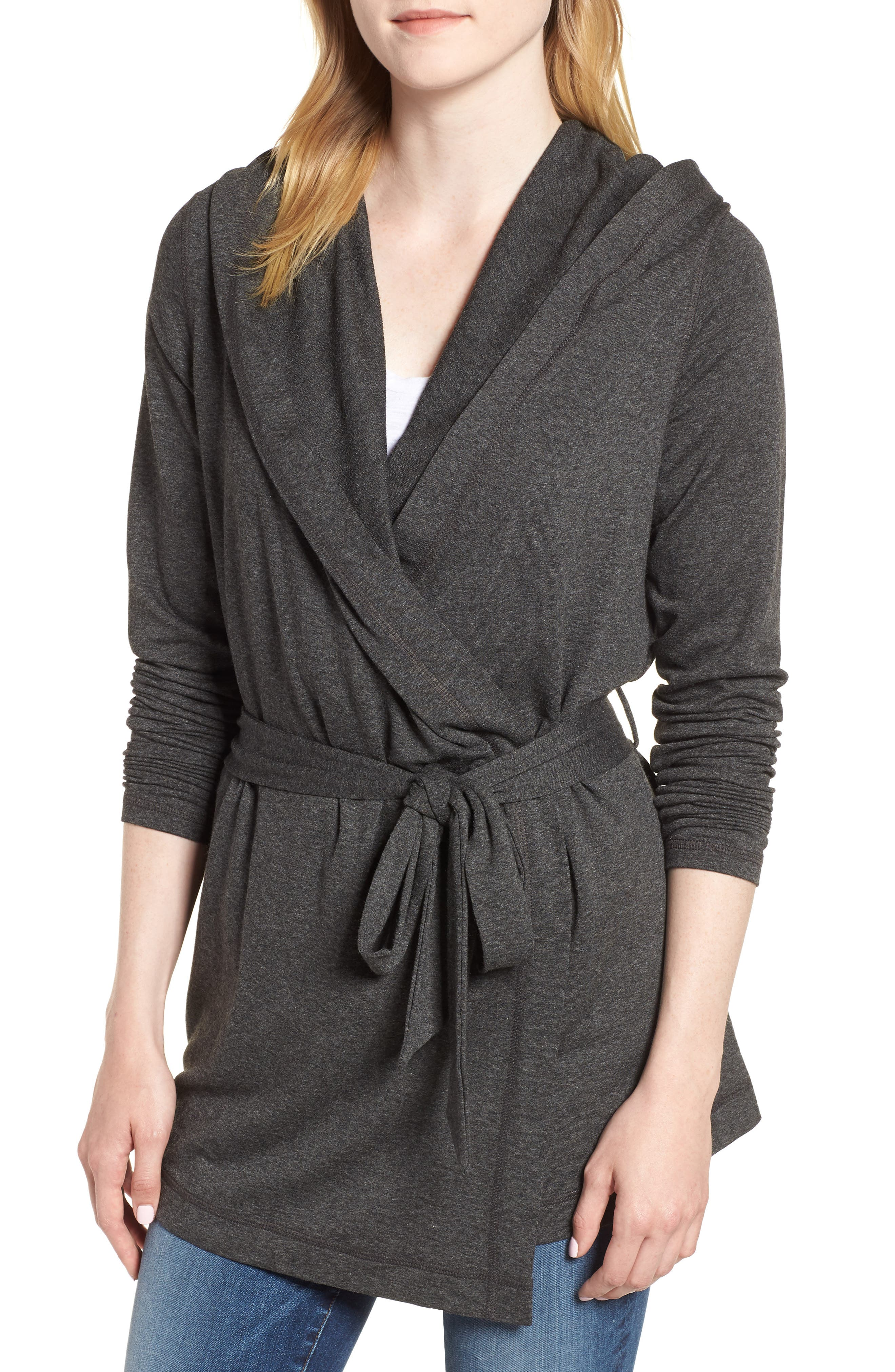 Draped Hooded Cardigan,                         Main,                         color, CHARCOAL