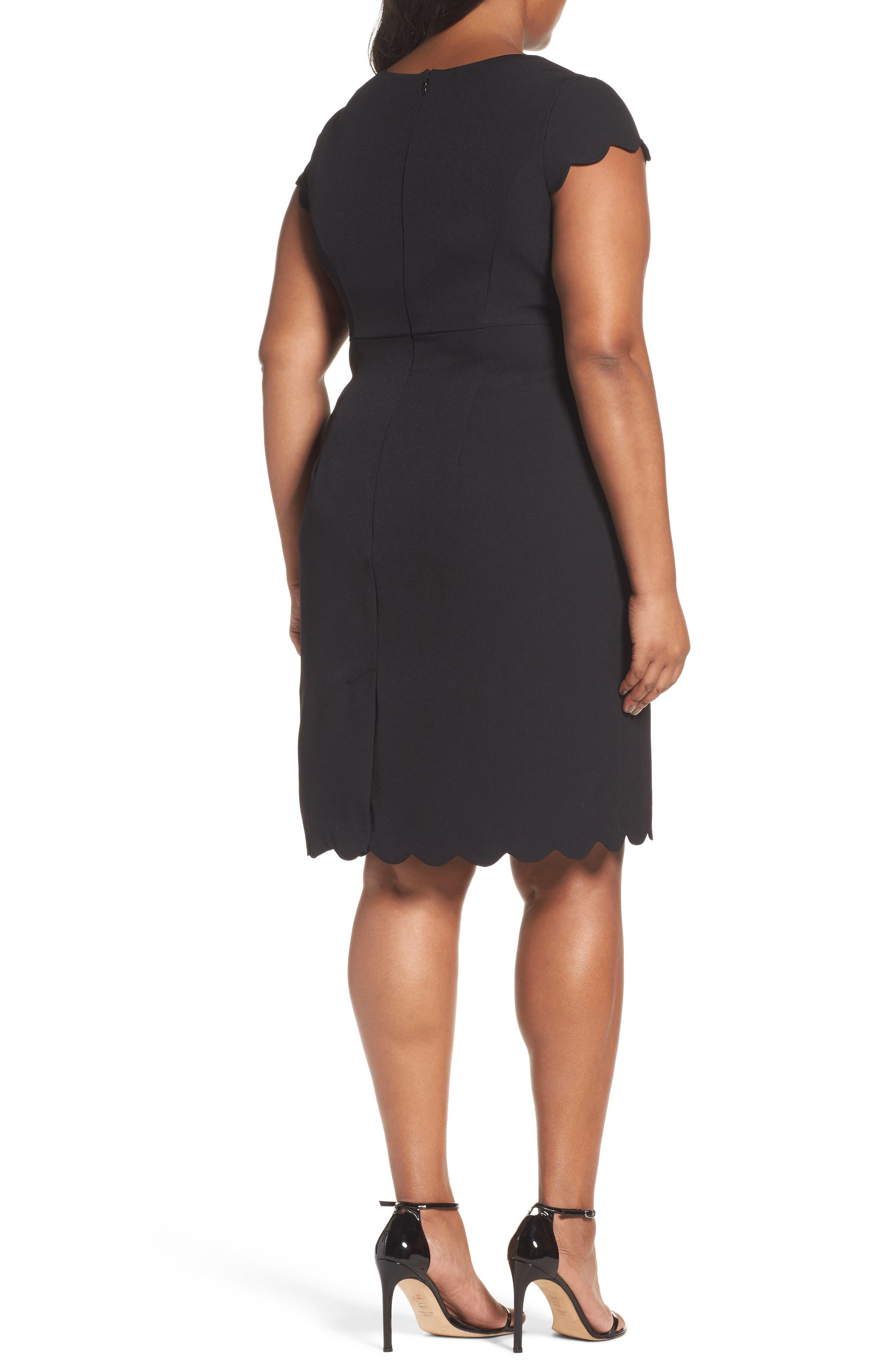 Scalloped Crepe Sheath Dress,                             Alternate thumbnail 2, color,                             001