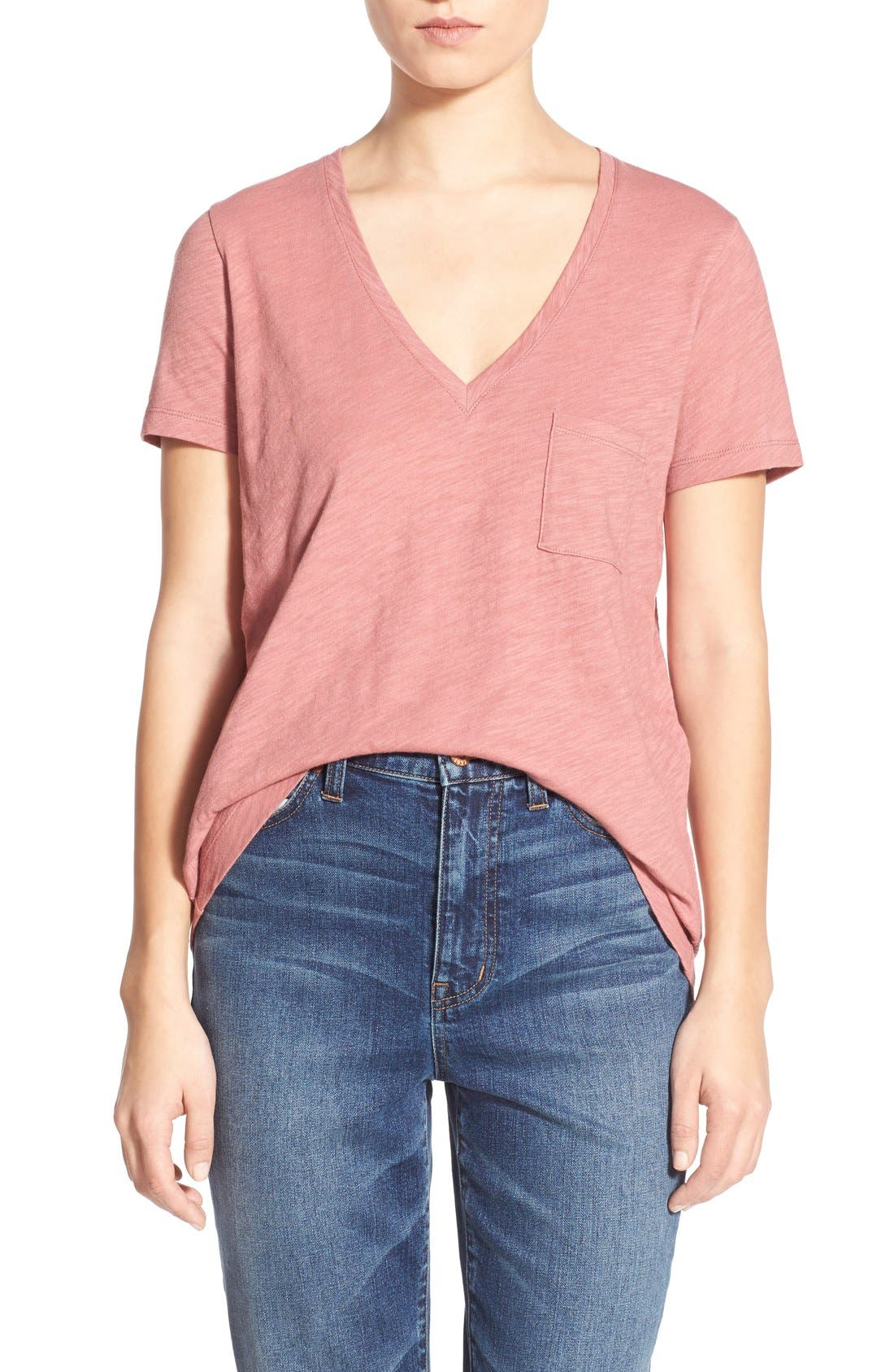 Whisper Cotton V-Neck Pocket Tee,                             Main thumbnail 33, color,
